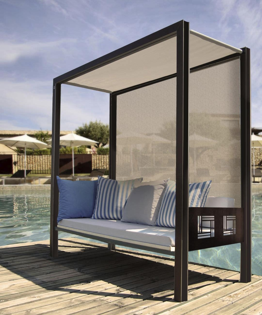 Contemporary Sofa / Garden / Metal / 3 Seater – Polymobyl Pour La Regarding Outdoor Sofas With Canopy (View 7 of 20)