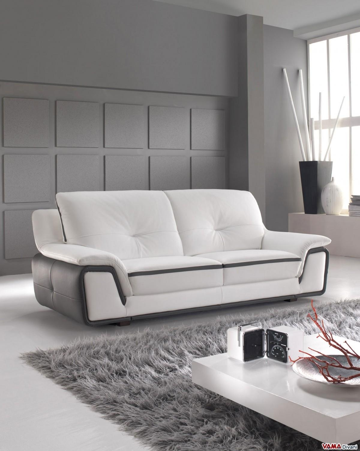 Contemporary Sofa In White And Grey Genuine Leather With Modern 3 Seater Sofas (View 11 of 20)