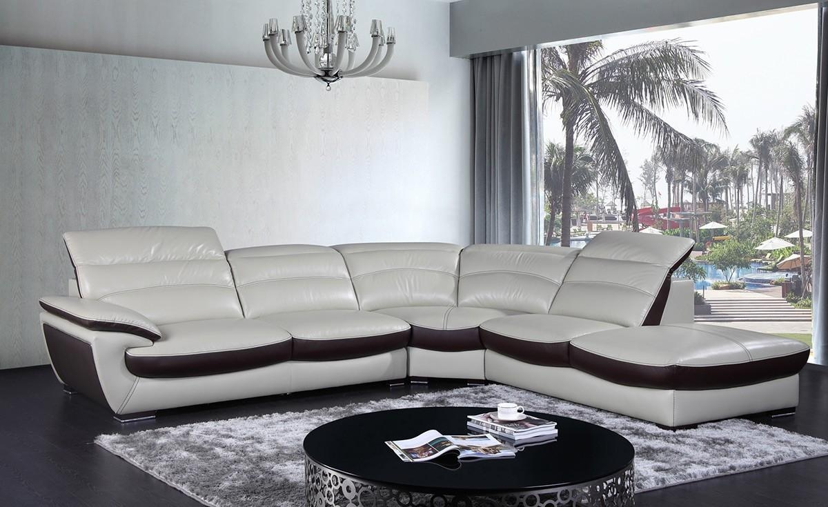 Contemporary Two Tone Leather Sectional Sofa Within Two Tone Sofas (Image 6 of 20)