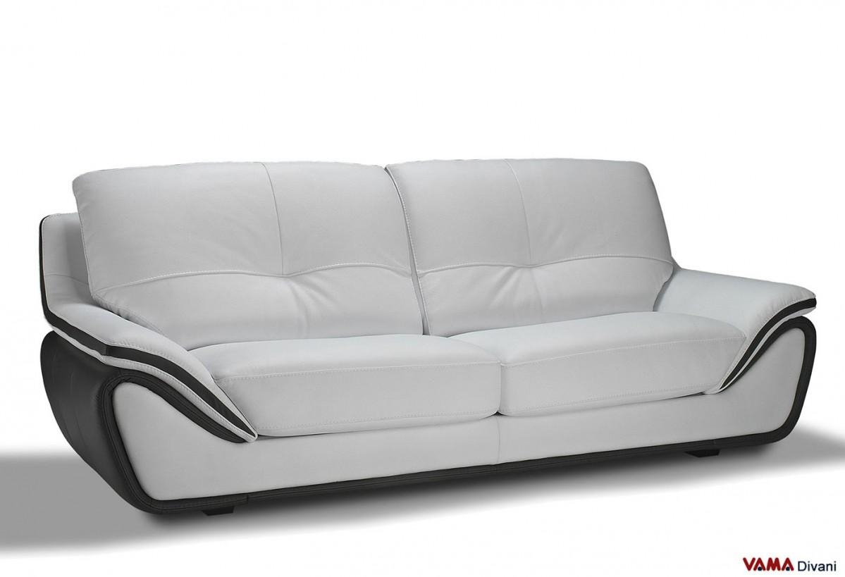 Contemporary White Leather Sofa | Large And High Back Pertaining To Modern 3 Seater Sofas (Image 3 of 20)