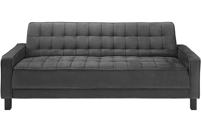 Convertible Mckinley Black Sofa Bed | Mckinley Black Euro Lounger Within Euro Lounger Sofa Beds (Image 3 of 20)