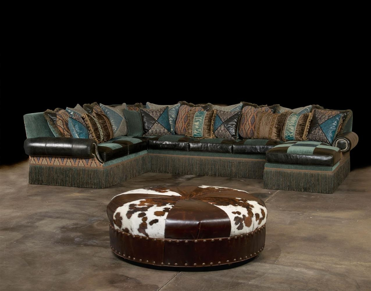Cool Aqua Fabric And Leather Sectional In Custom Leather Sectional (View 3 of 15)