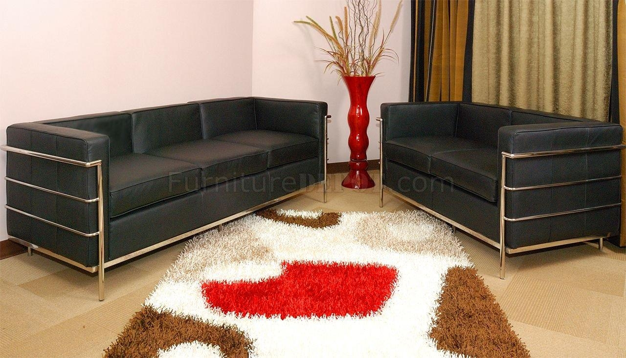 Corbusier Style Grande Sofa, Loveseat & Chair Set In Black With Bradington Truffle (View 20 of 20)