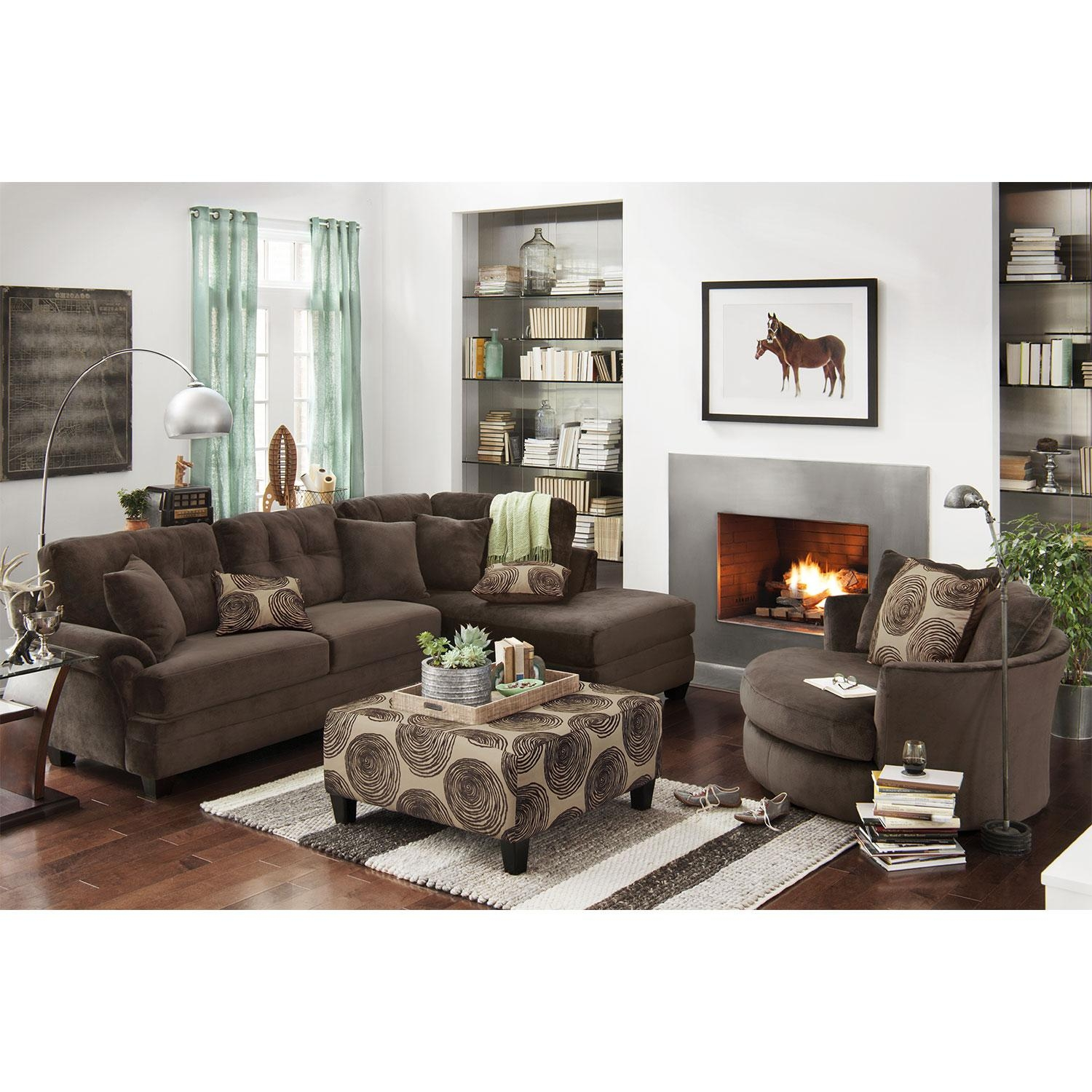 Cordelle 2 Piece Right Facing Chaise Sectional – Chocolate Intended For Sectional With 2 Chaises (Image 2 of 20)