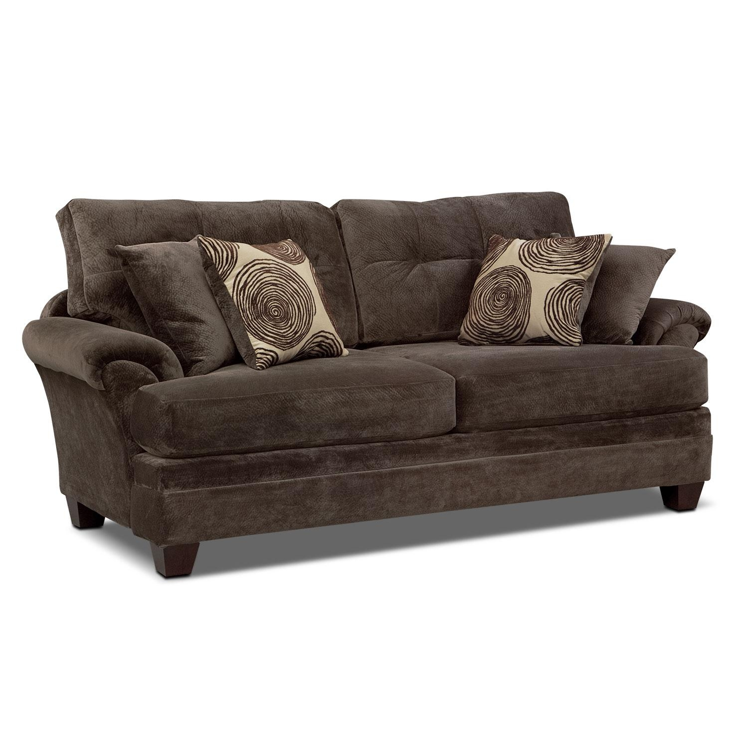 Cordelle Sofa And Swivel Chair Set – Chocolate | Value City Furniture Intended For Sofa With Swivel Chair (View 6 of 20)