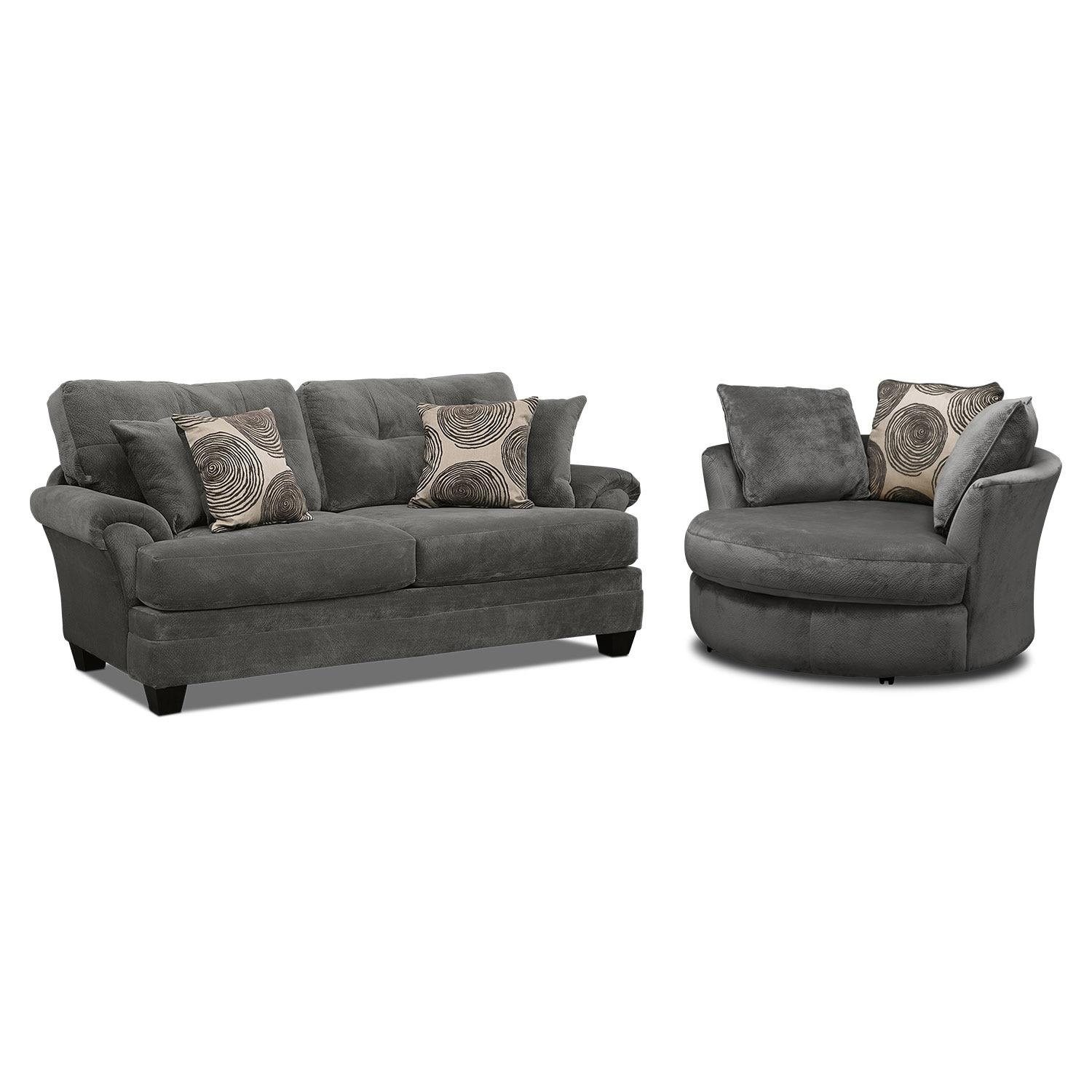 Cordelle Sofa, Loveseat And Swivel Chair Set – Gray | Value City For Swivel Sofa Chairs (View 16 of 20)