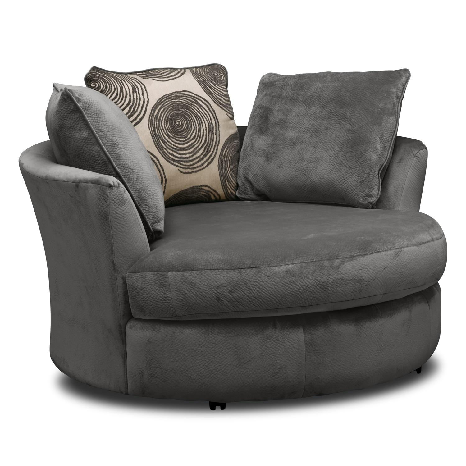 Cordelle Sofa, Loveseat And Swivel Chair Set – Gray | Value City In Sofa Loveseat And Chairs (View 16 of 20)