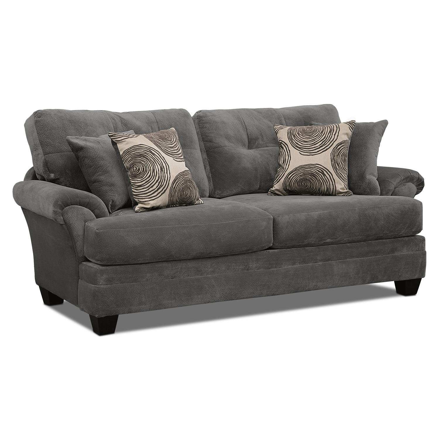 Cordelle Sofa, Loveseat And Swivel Chair Set – Gray | Value City Pertaining To Swivel Sofa Chairs (Image 3 of 20)