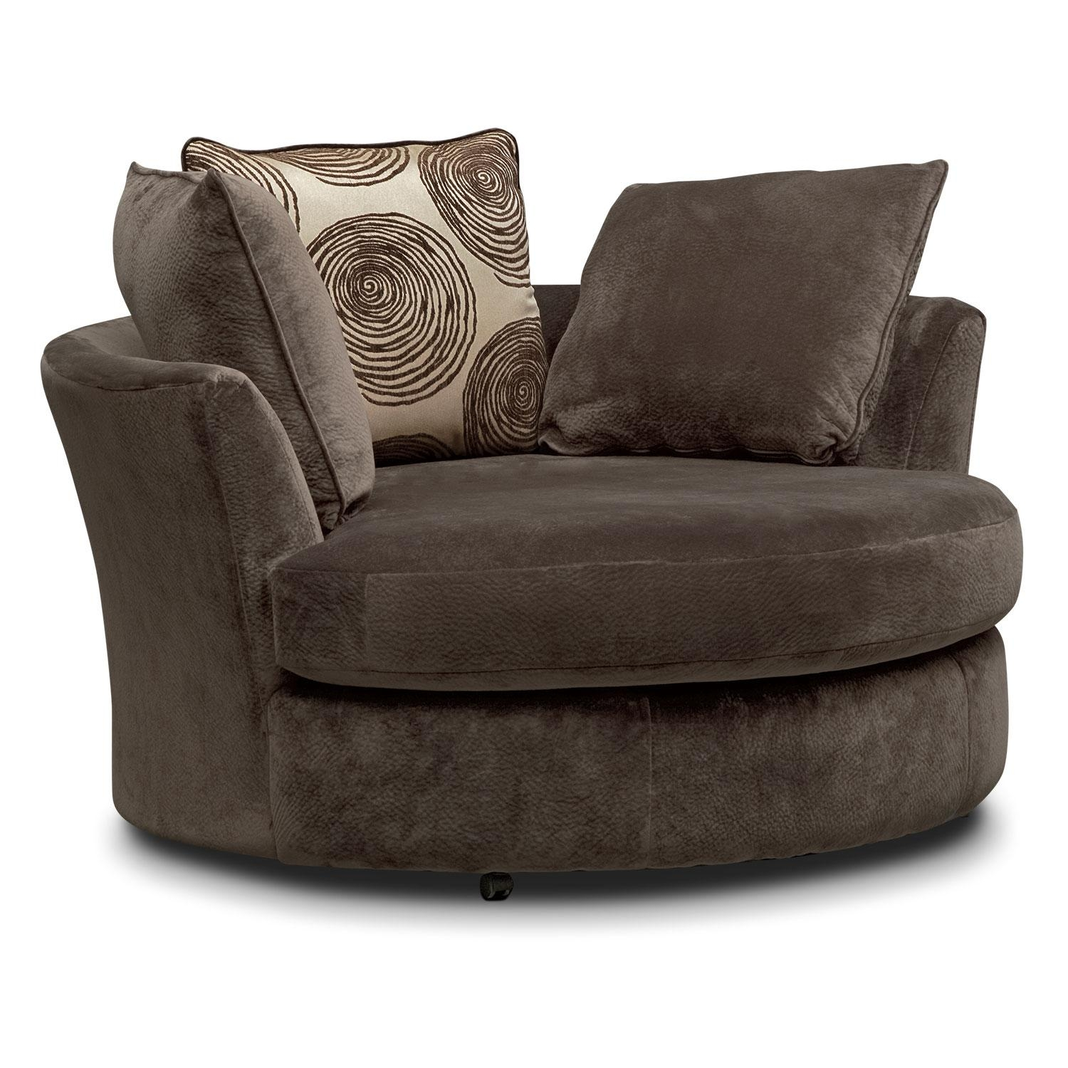 Cordelle Swivel Chair – Chocolate | Value City Furniture Inside Circle Sofa Chairs (View 8 of 20)