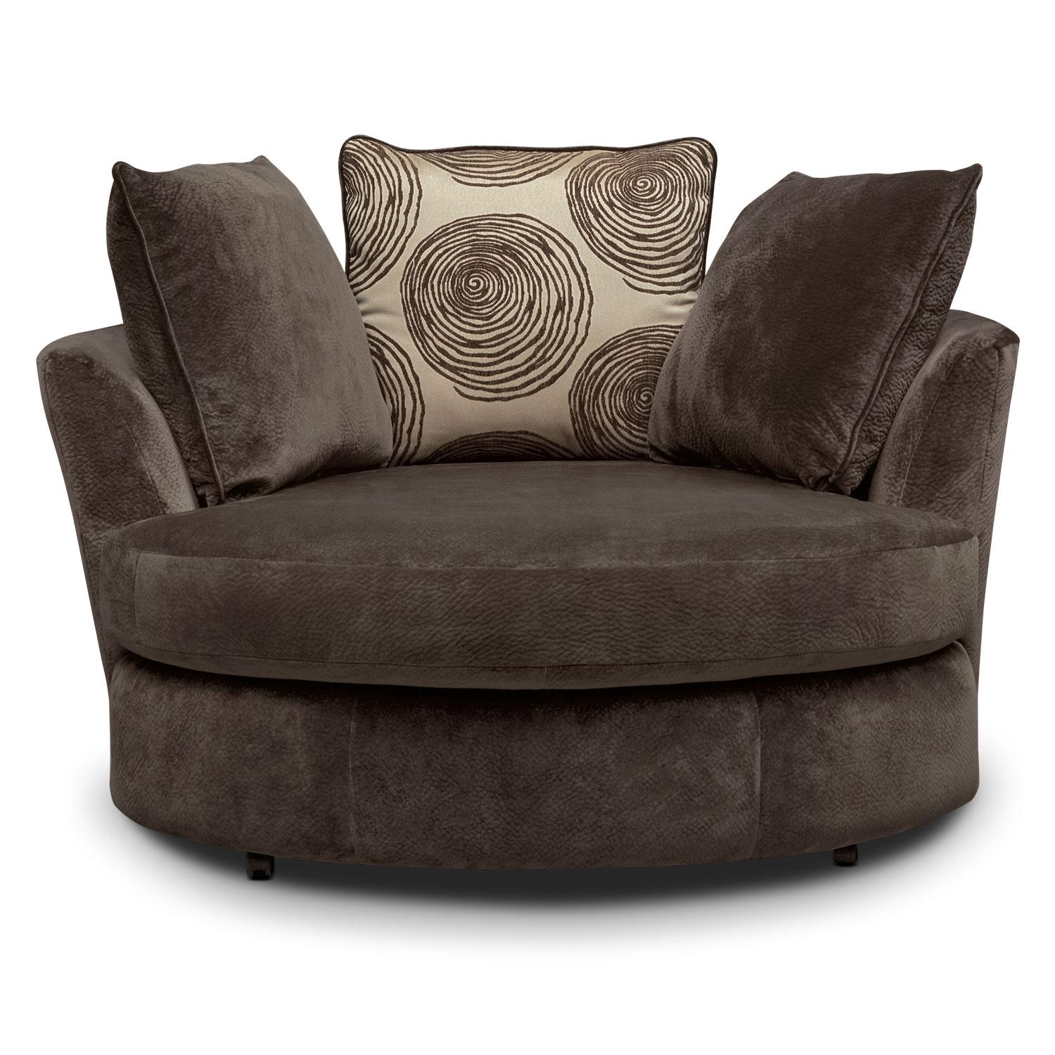 Cordelle Swivel Chair – Chocolate | Value City Furniture Intended For Swivel Sofa Chairs (View 2 of 20)