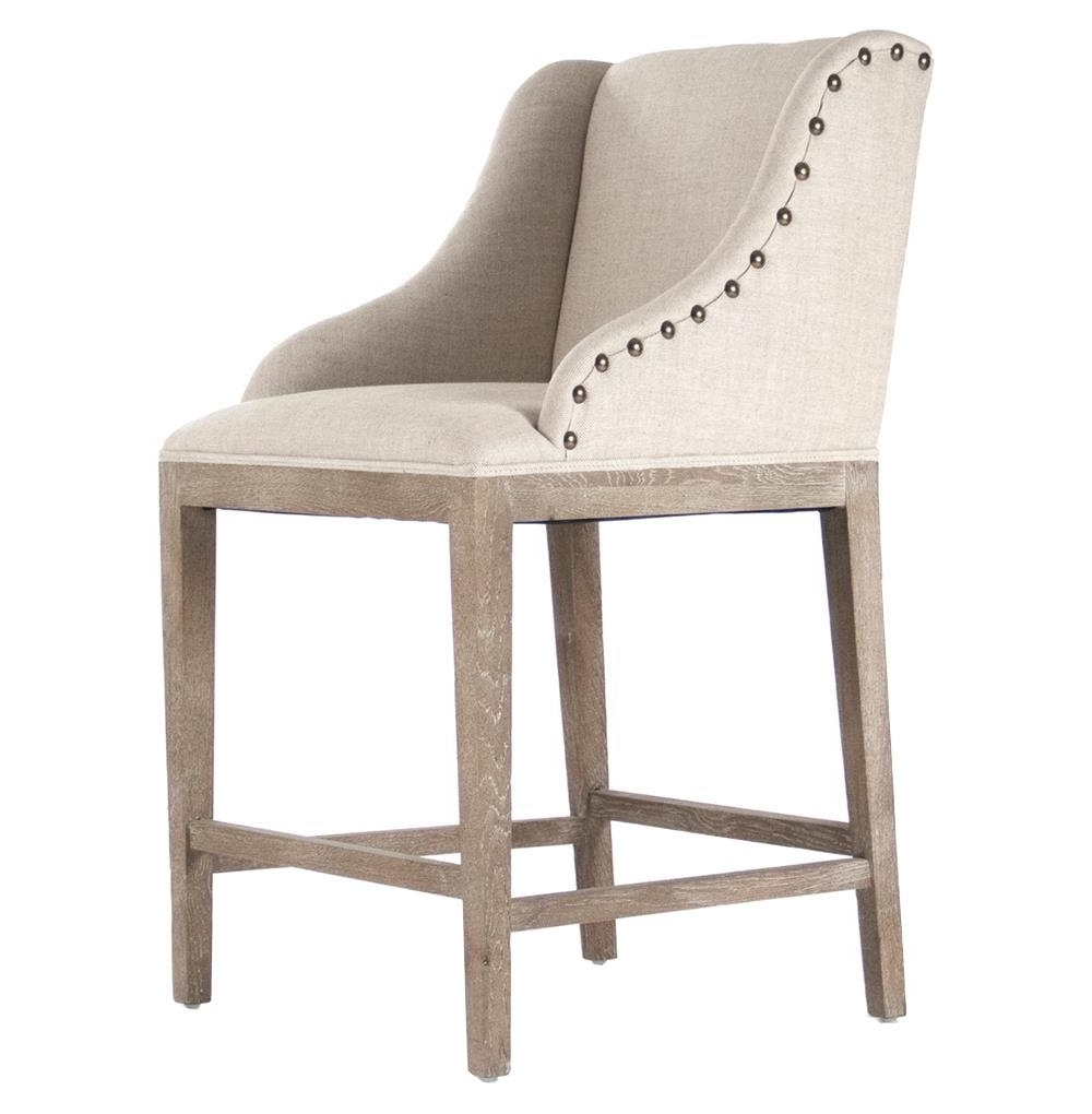 Corneille French Country Limed Oak Linen Counter Stool   Kathy Kuo Regarding French Country Counter Stools (View 8 of 20)