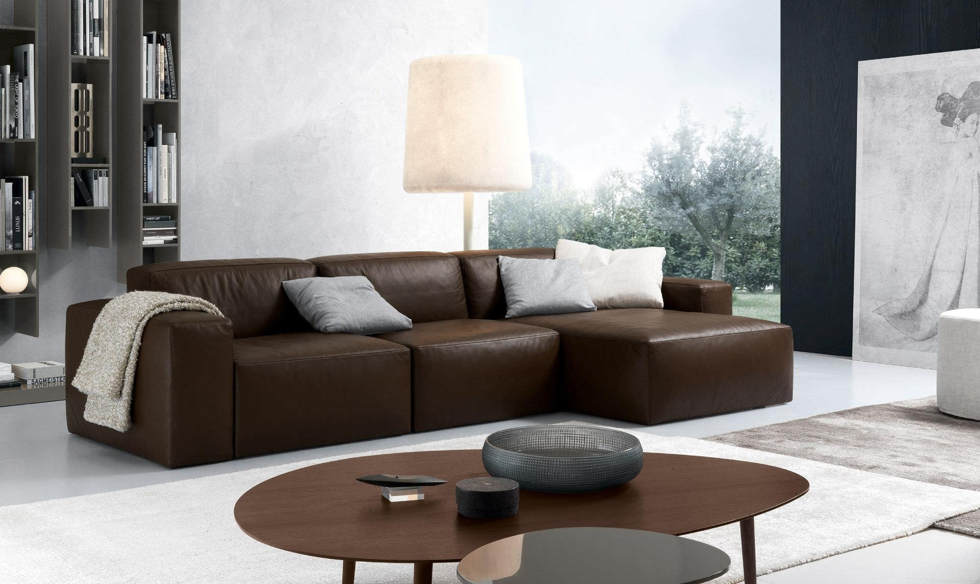 Corner Sofa / Contemporary / Leather / 3 Seater – Daniel With Regard To Contemporary Brown Leather Sofas (View 13 of 20)