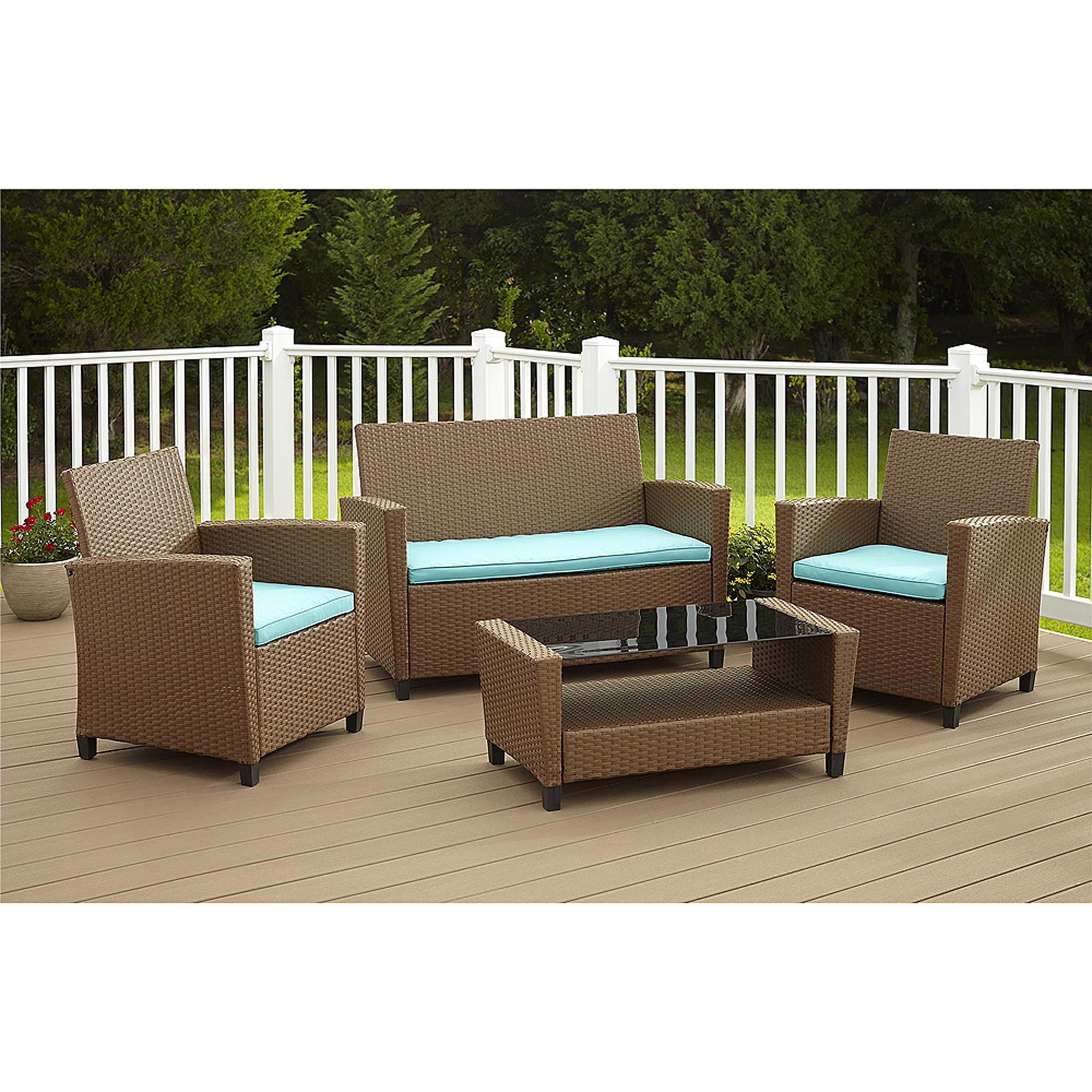 Cosco Outdoor Malmo 4 Piece Resin Wicker Patio Conversation Set Regarding Black Wicker Sofas (View 13 of 20)