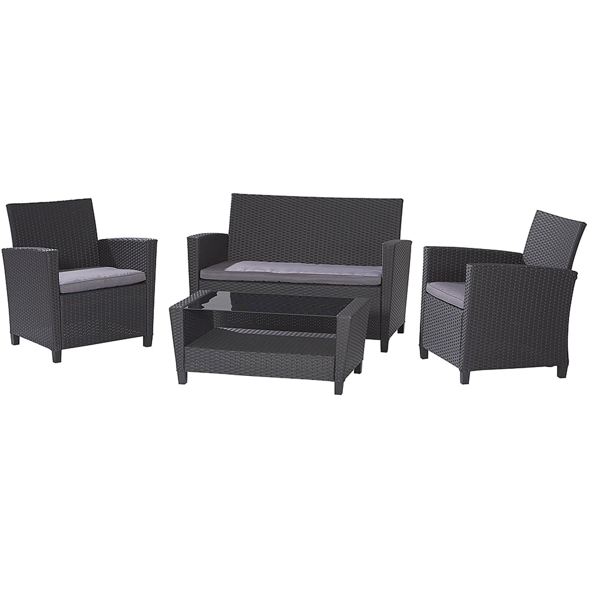 Cosco Outdoor Malmo 4 Piece Resin Wicker Patio Conversation Set Throughout Black Wicker Sofas (View 8 of 20)