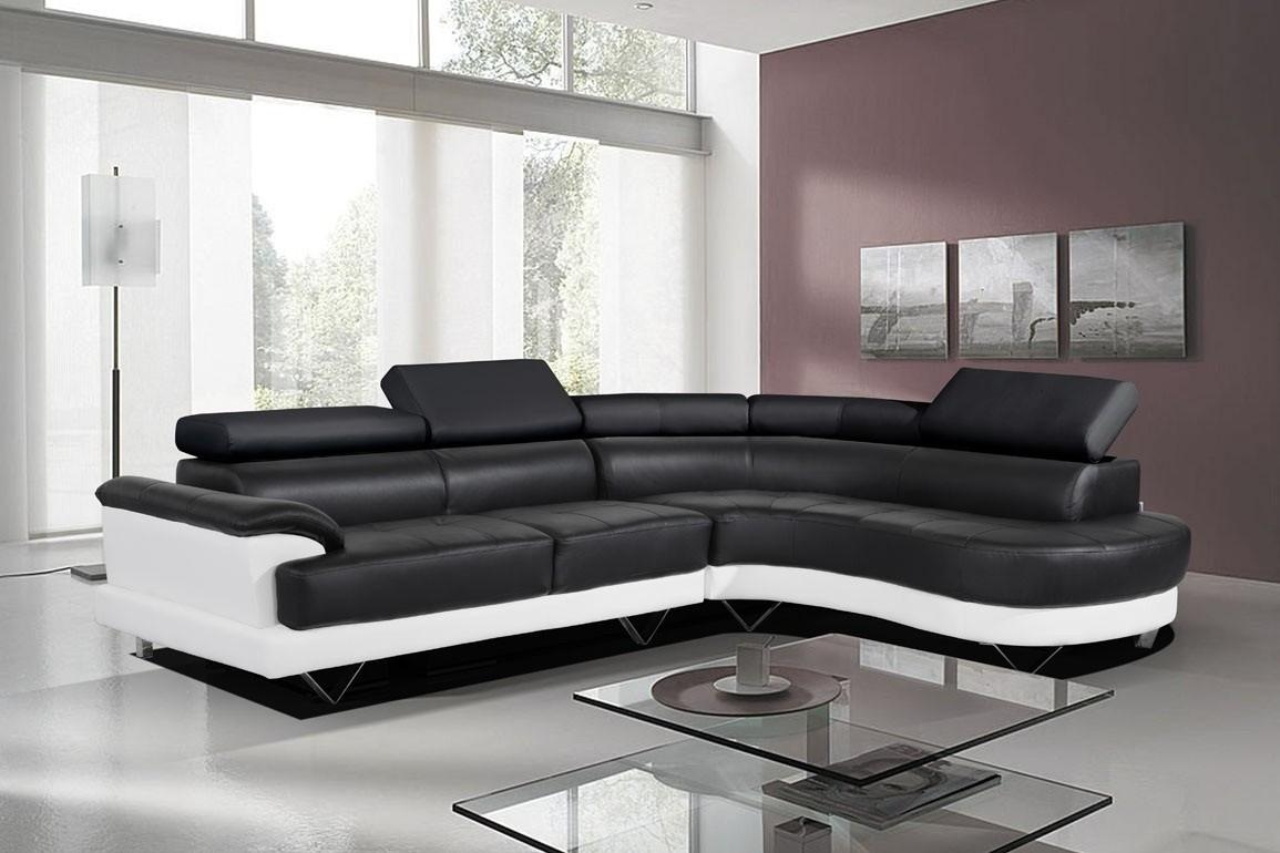 Cosmo Stylist Black And White Leather Corner Sofa Right/hand Throughout White Leather Corner Sofa (Image 2 of 20)