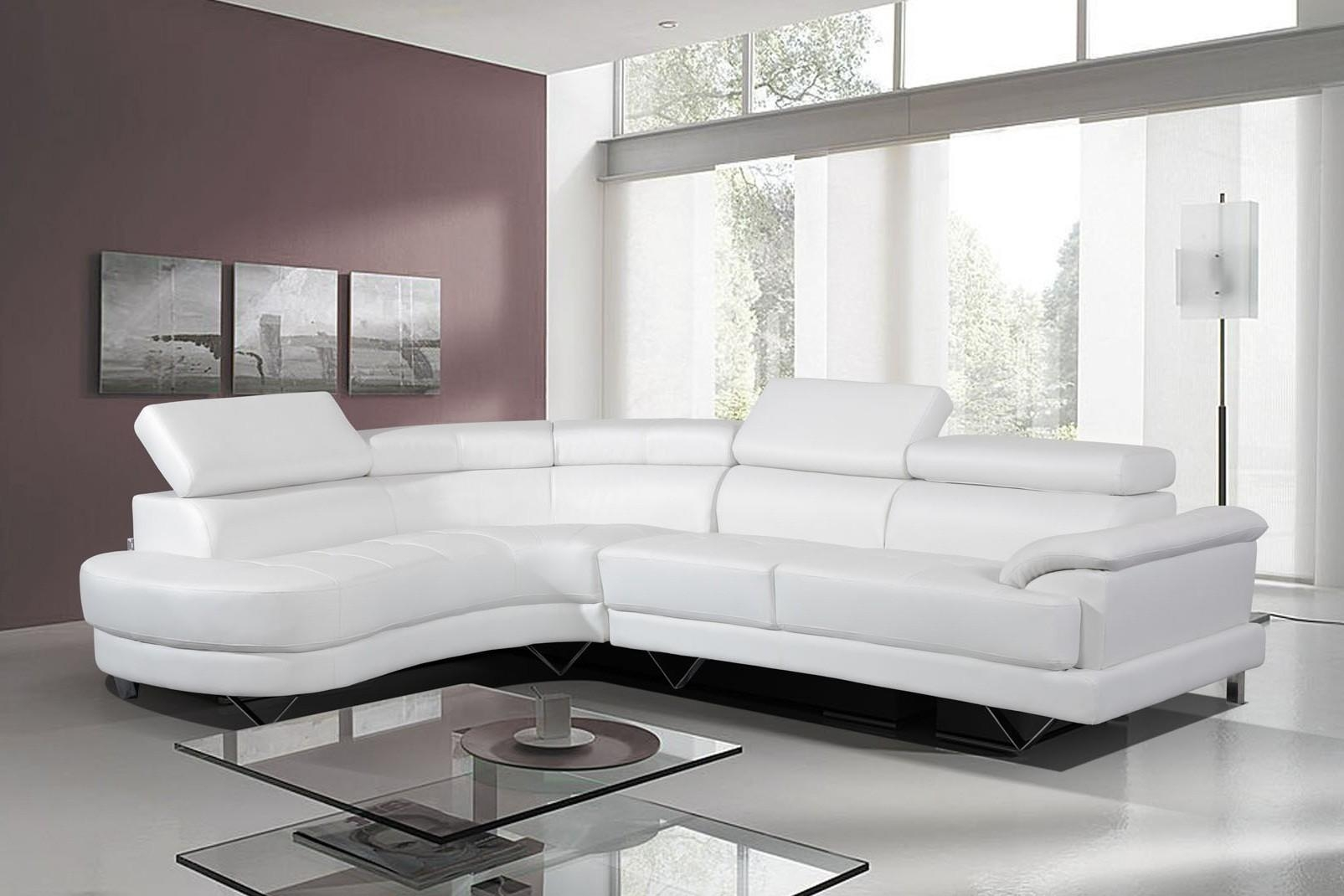 Merveilleux Cosmo Stylist Modern White Leather Corner Sofa Left/hand With Regard To White  Leather Corner