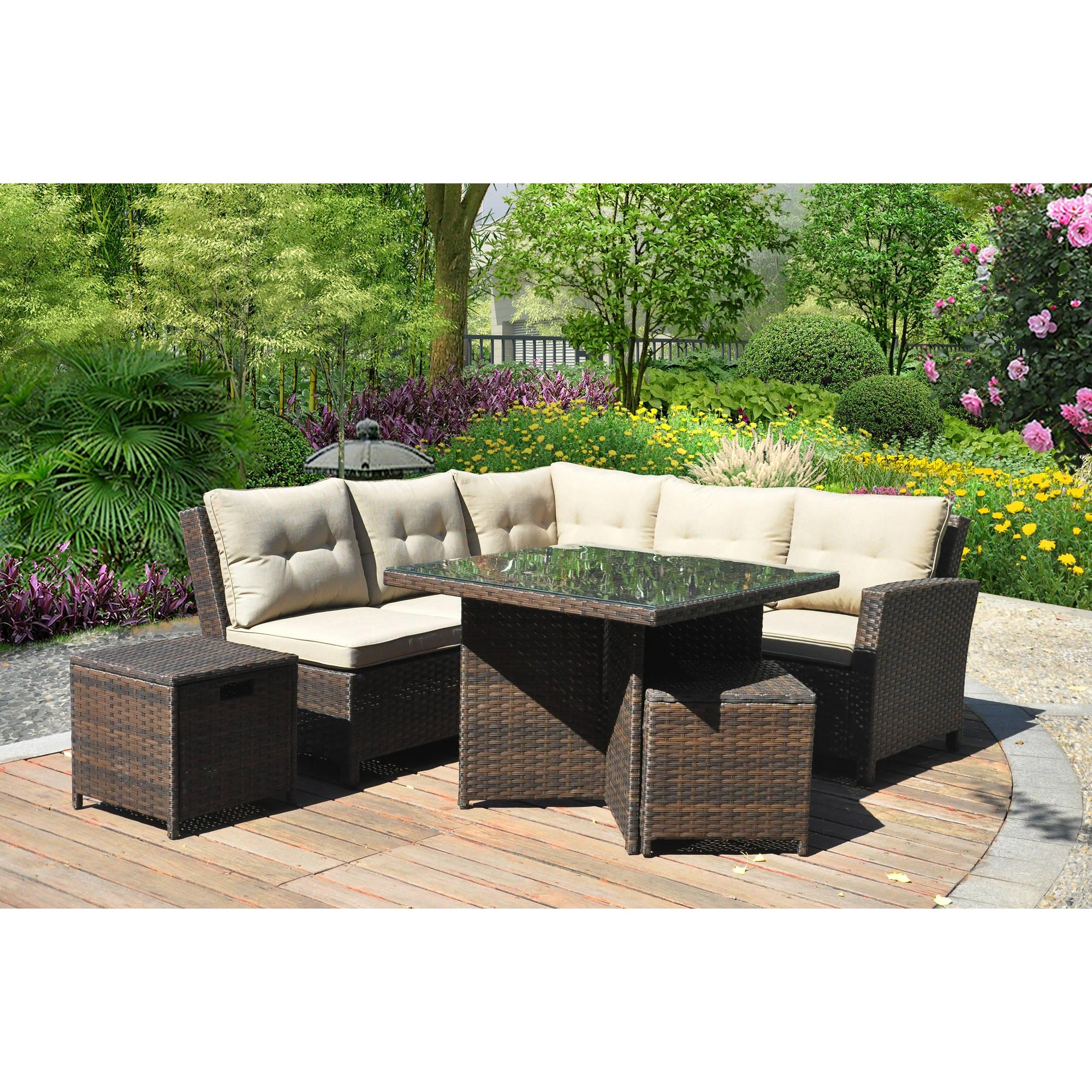 Costway 6 Pcs Outdoor Patio Rattan Wicker Sectional Furniture Set In Patio Sofa Tables (Image 7 of 20)