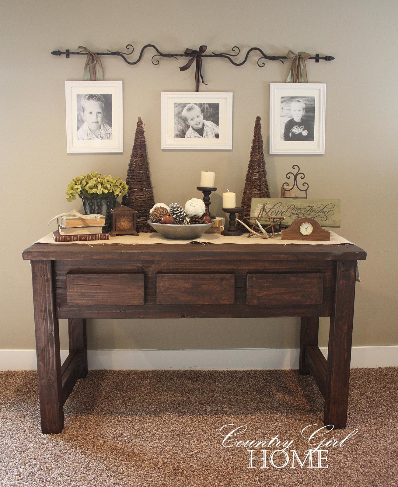 "Country Girl Home : My New ""hand Crafted"" Sofa Table Throughout Country Sofa Tables (Image 6 of 20)"