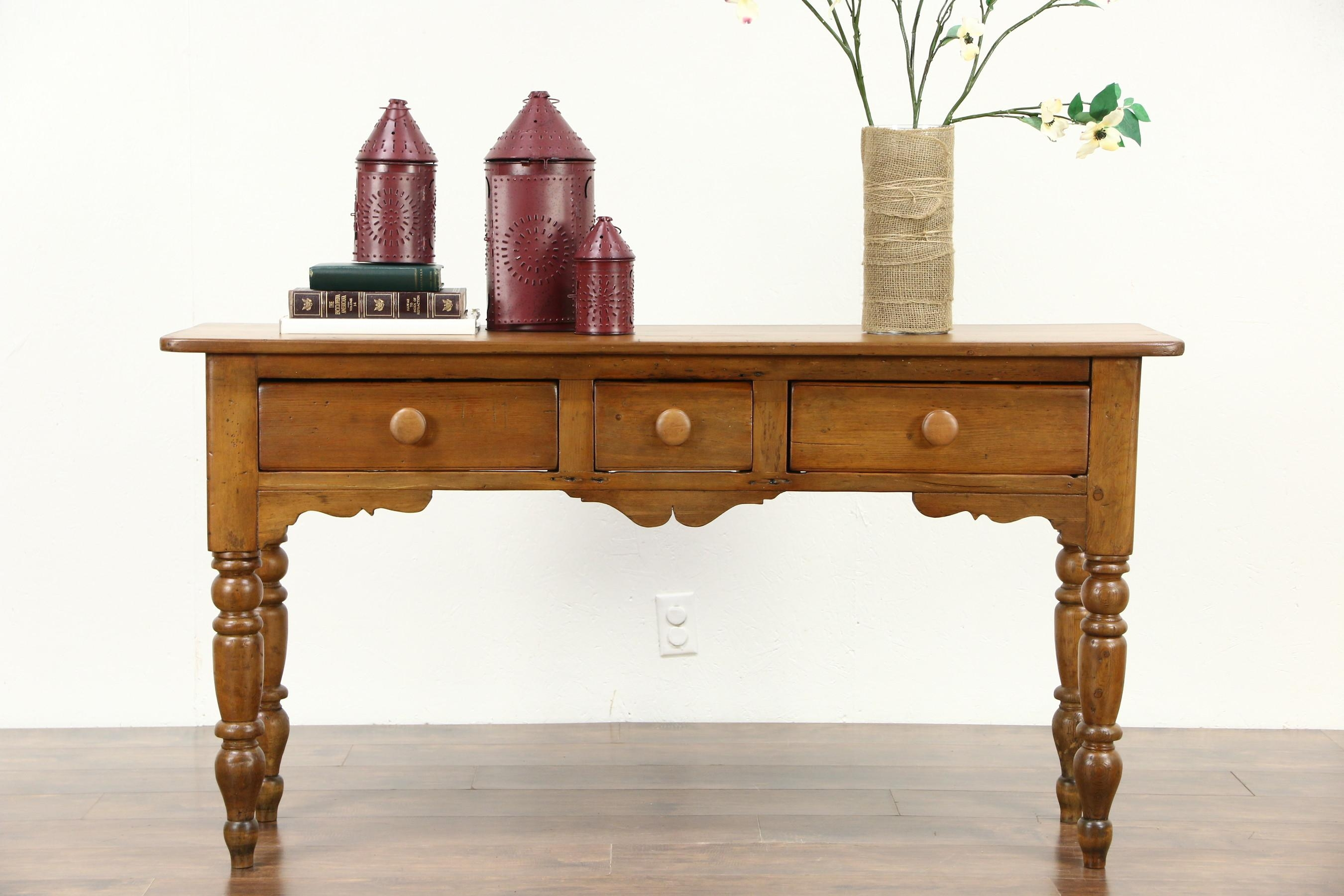 Country Pine 1860's Antique English Sofa Table Or Hall Console With Country Sofa Tables (Image 7 of 20)