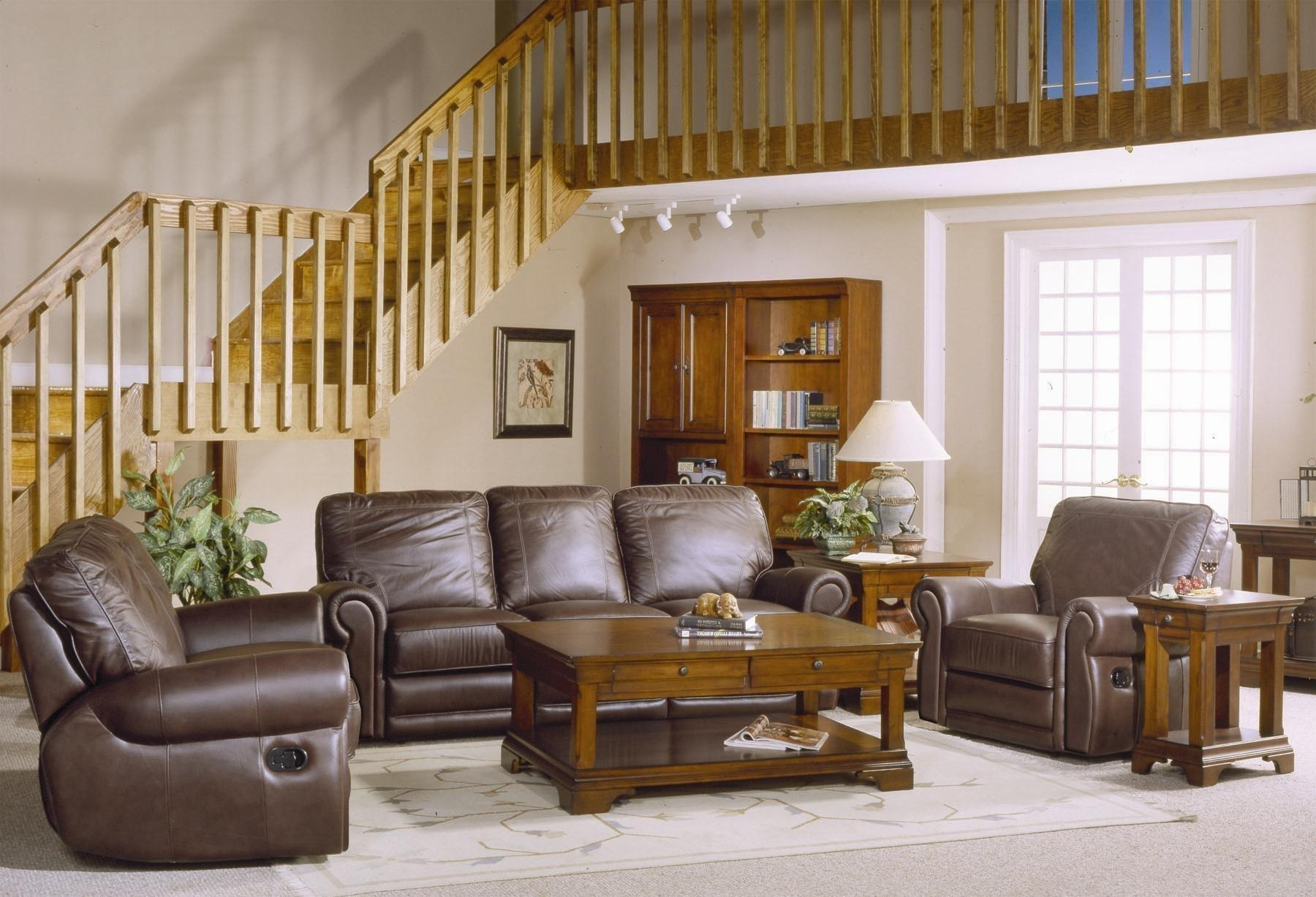 Country Style Brown Leather Sofa Set With Sofa Loveseat And Chair In Country Style Sofas And Loveseats (Photo 1 of 20)