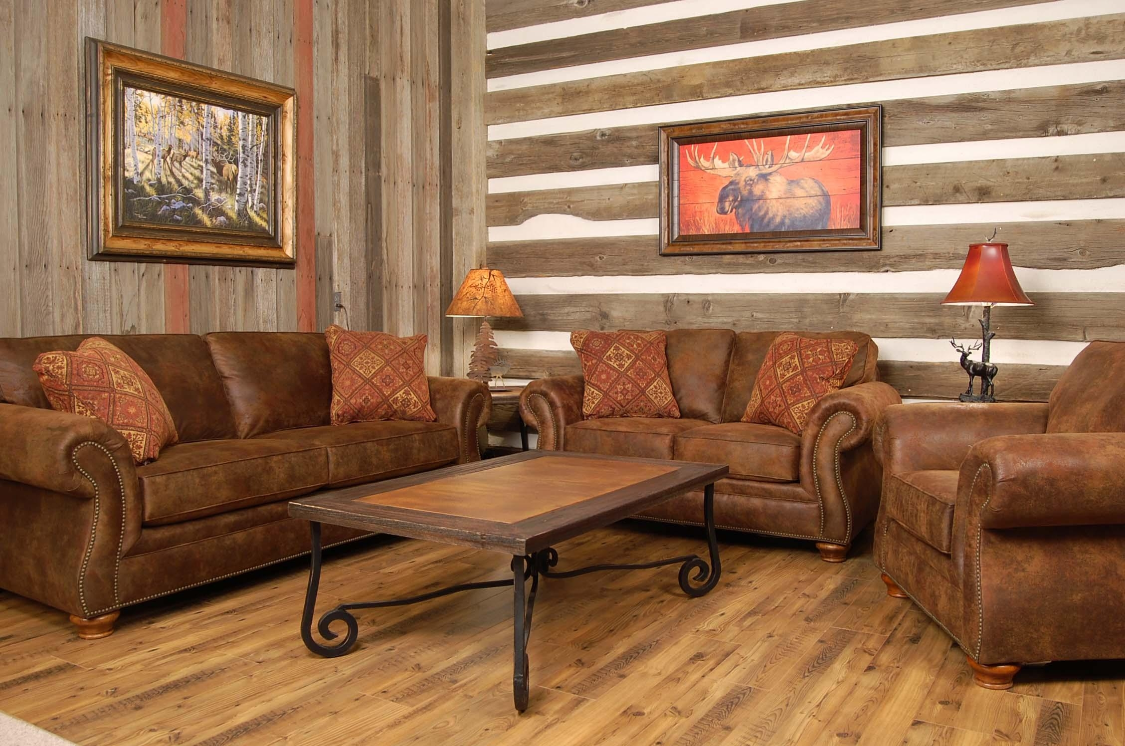 Country Style Living Room Brown Sofa – Carameloffers Intended For Country Style Sofas (Image 3 of 20)