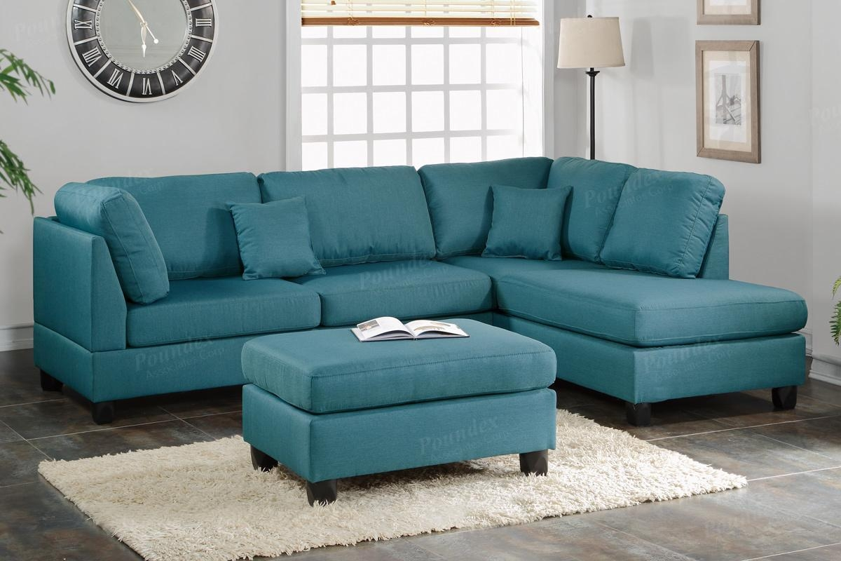 Courtney Blue Fabric Sectional Sofa And Ottoman – Steal A Sofa Within Blue Sofa Chairs (Image 10 of 20)