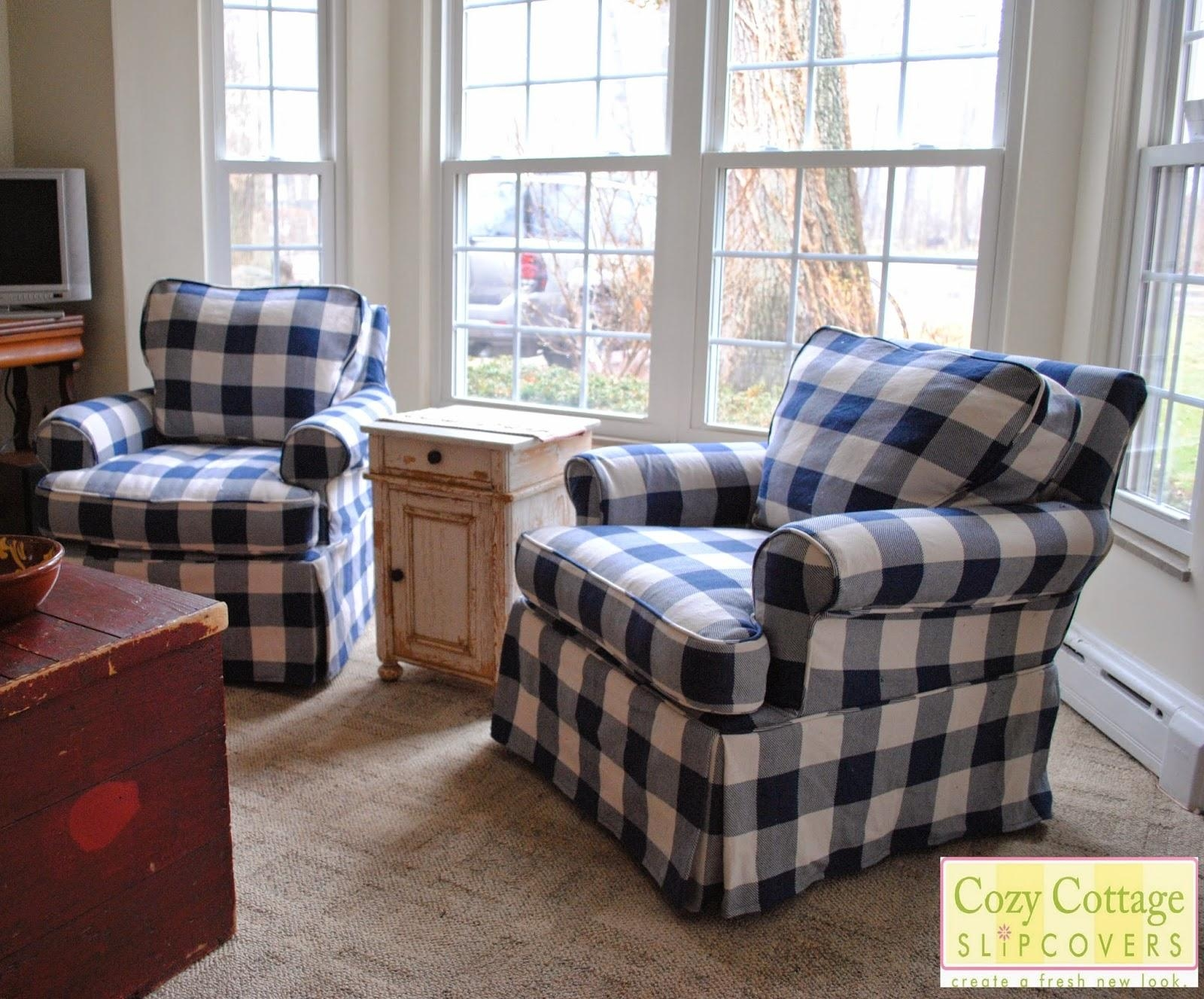 Cozy Cottage Slipcovers: Blue And White Buffalo Check Slipcovers Inside Blue Slipcovers (Image 5 of 20)