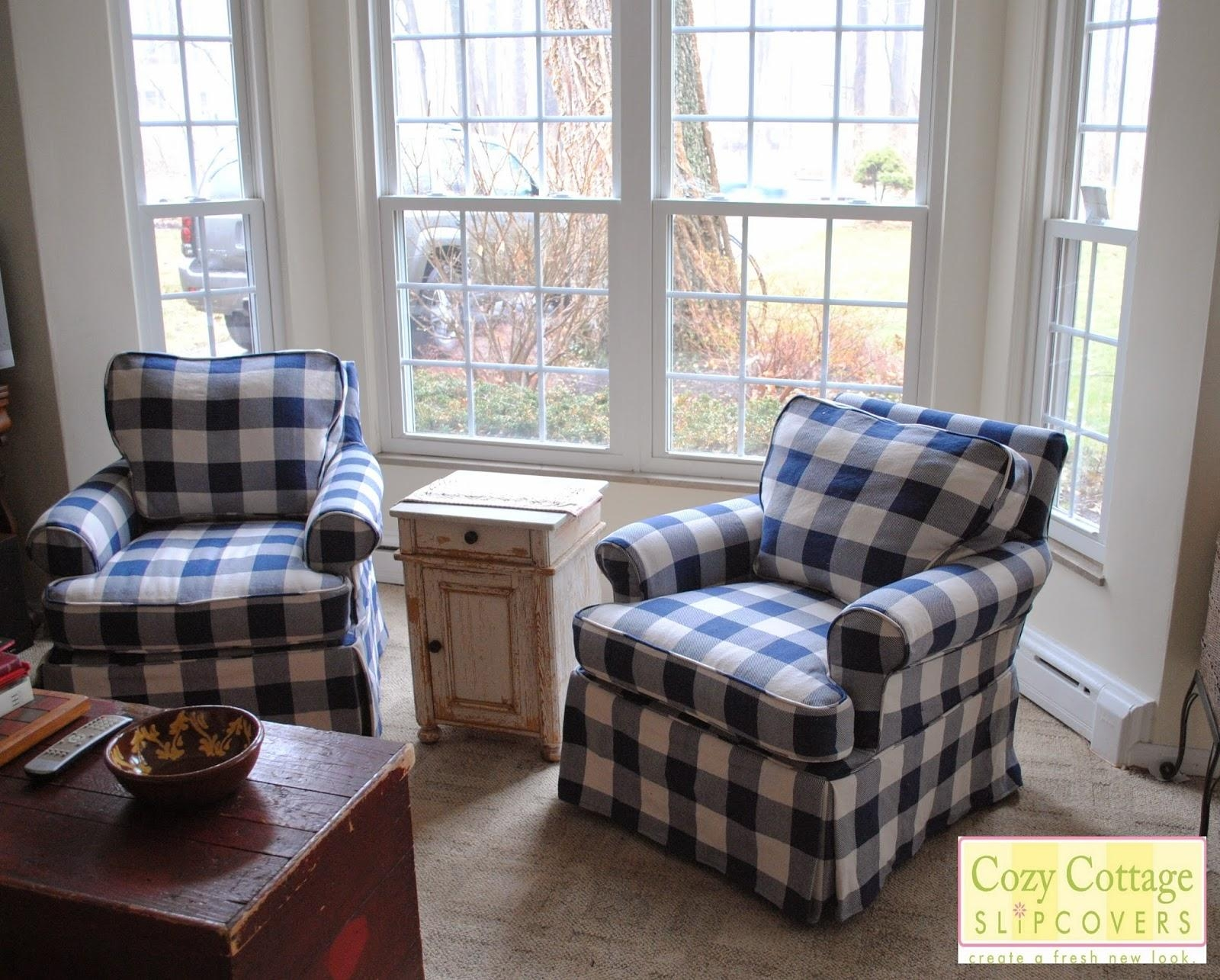 Cozy Cottage Slipcovers: Blue And White Buffalo Check Slipcovers Regarding Buffalo Check Sofas (View 8 of 20)