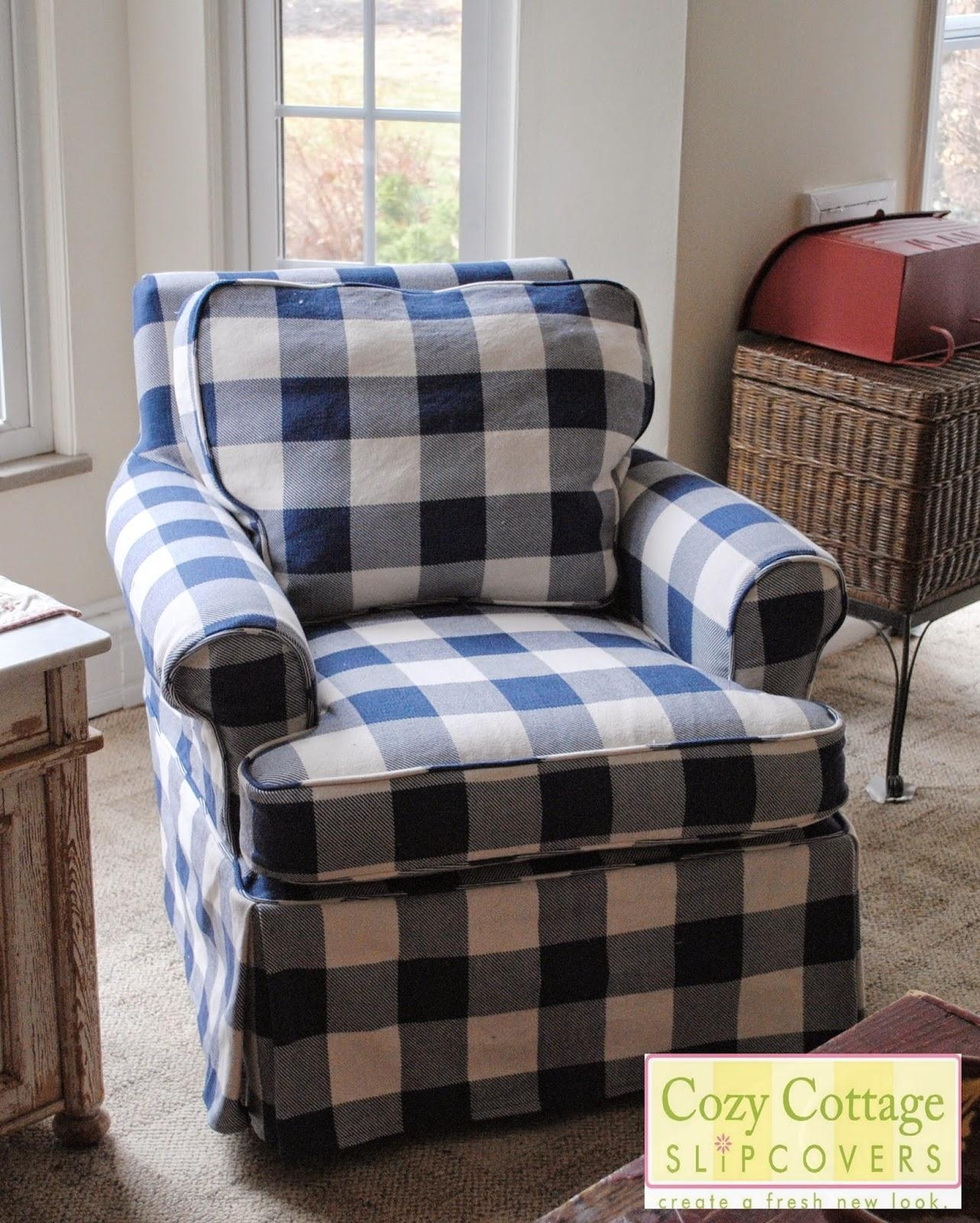 Cozy Cottage Slipcovers: Blue And White Buffalo Check Slipcovers With Buffalo Check Sofas (Image 17 of 20)