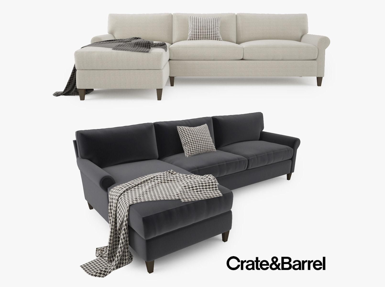 Crate And Barrel Montclair 2 Piece Sectional Sofa 3D Model Max Obj Within Crate And Barrel Sectional (Image 12 of 15)