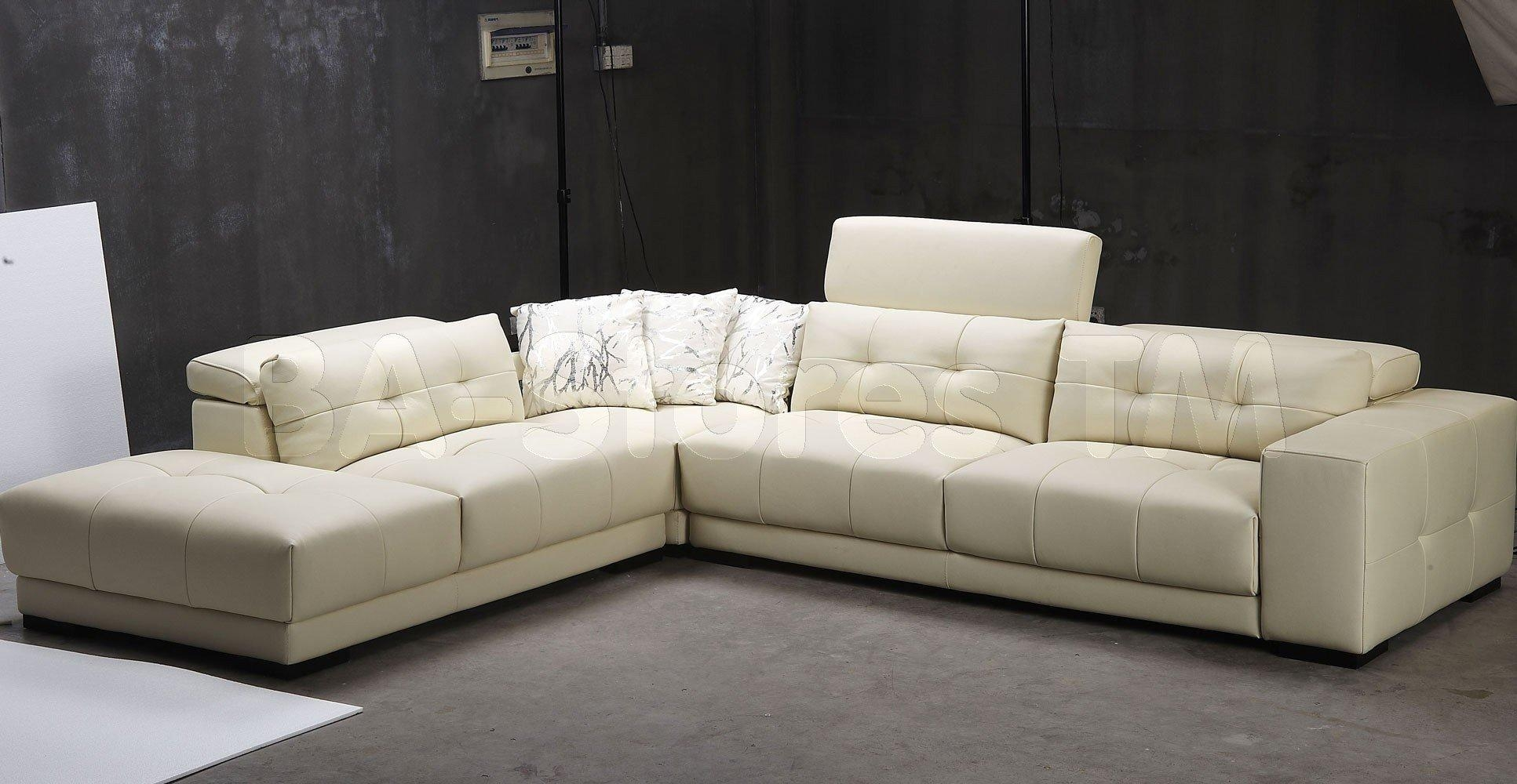 Cream L Leather Floating Sofa On Grey Carpet Of Minimalist White With Floating Sofas (Image 10 of 20)