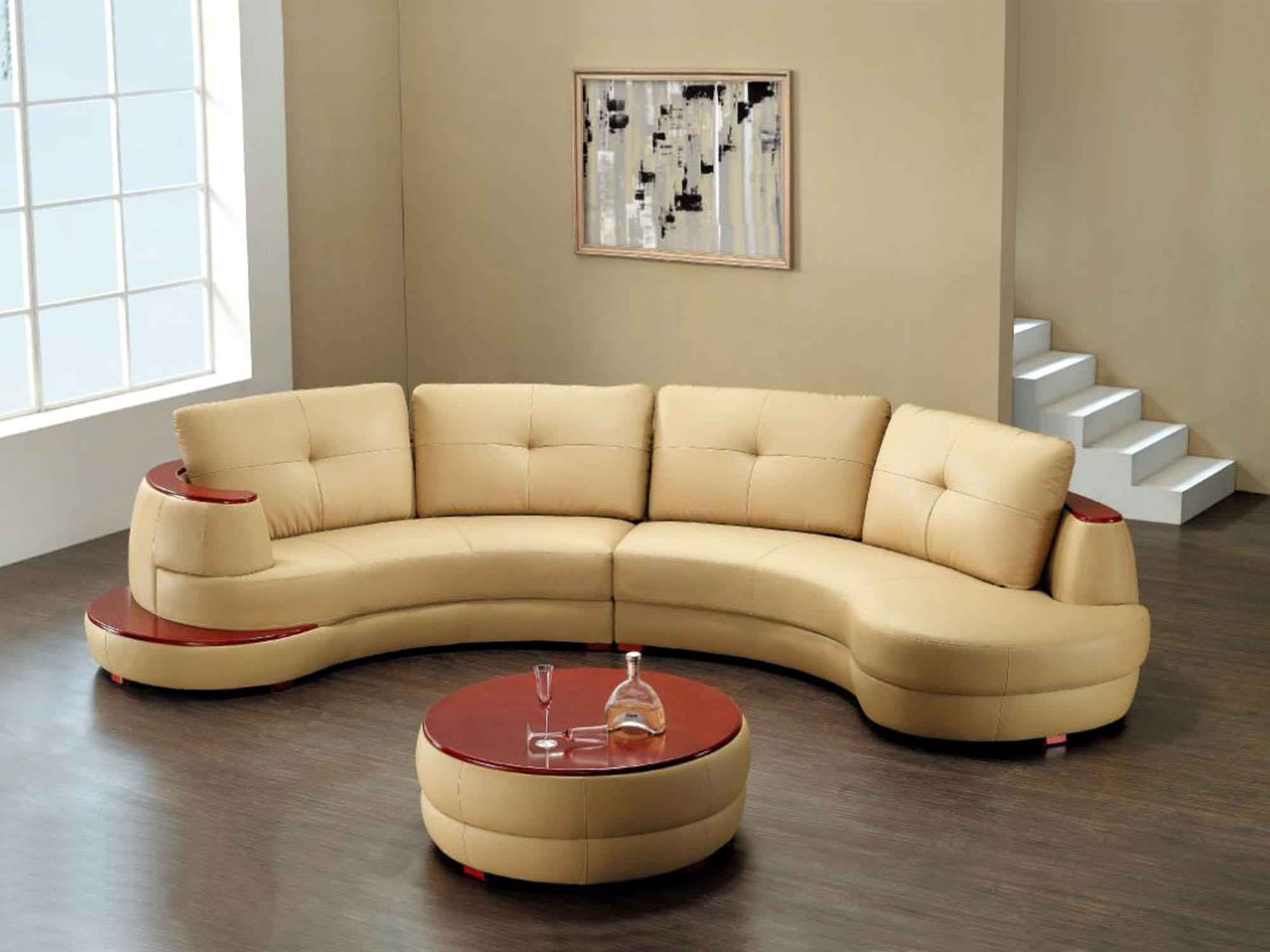 Creamy Brown Short Sectional Sofa Mixed White Floating Stair With Short Sectional Sofas (Image 3 of 20)