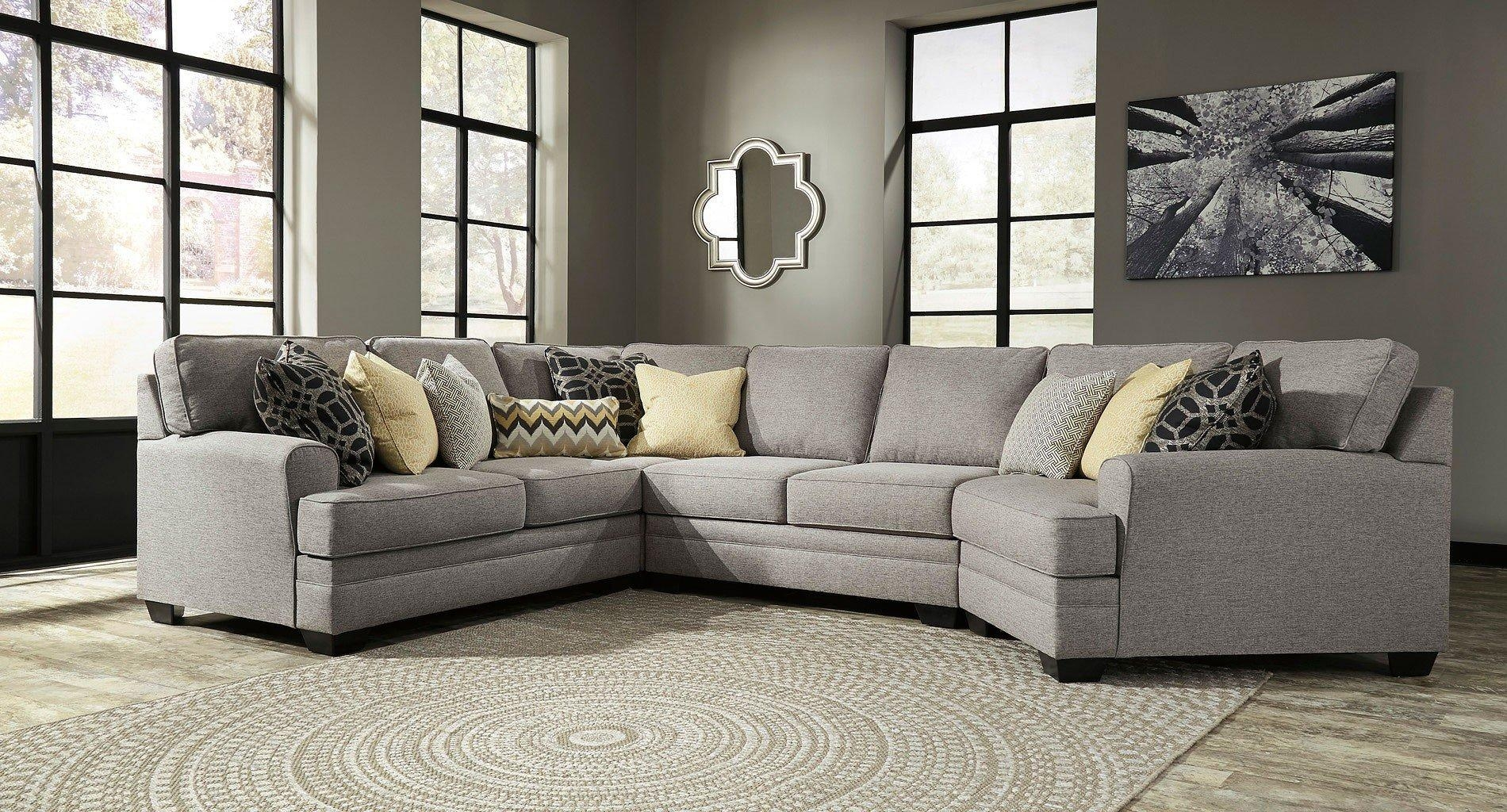 Cresson Pewter Modular Sectional W/ Cuddler Benchcraft | Furniture Intended For Sectional Cuddler (View 15 of 20)