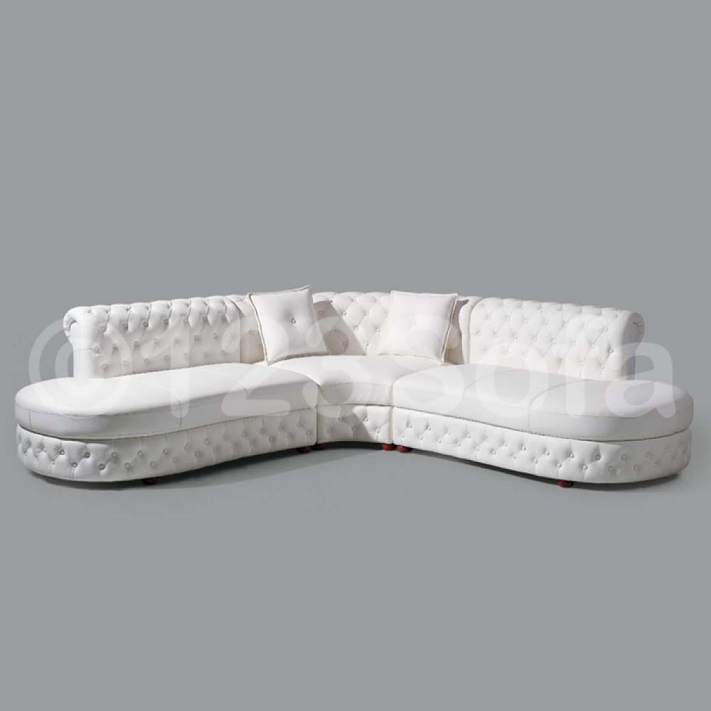 Cristo Leather Corner Sofa In White In White Leather Corner Sofa (View 19 of 20)