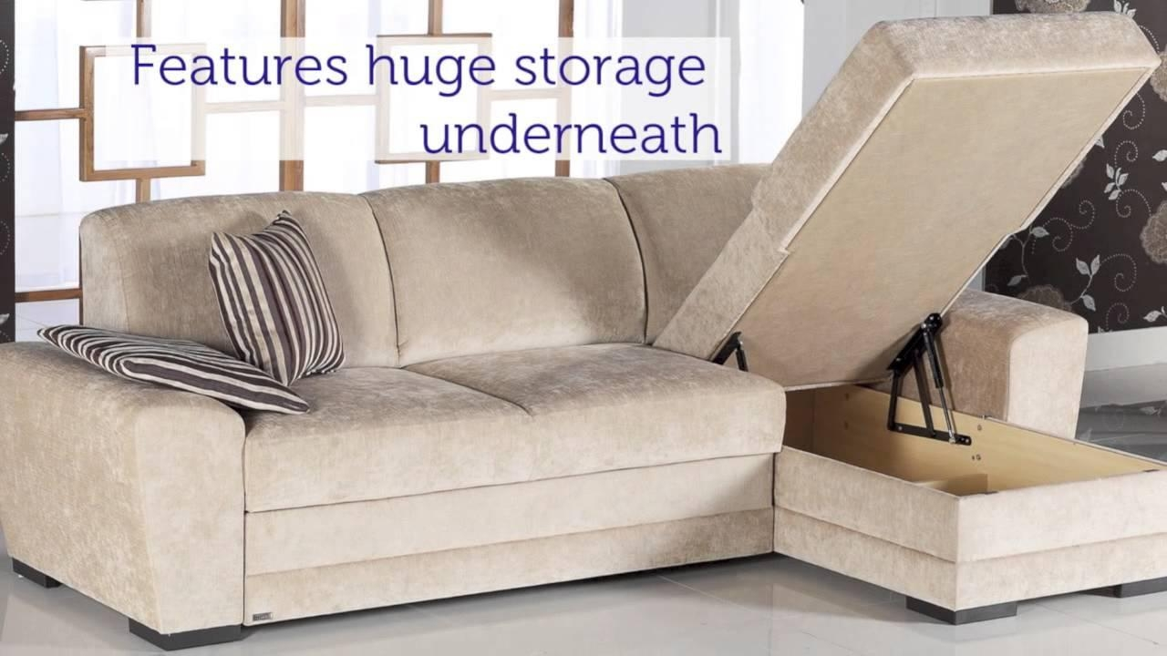 Cross Sectional Pull Out Sleeper In Cream – Youtube Intended For Pull Out Sectional (View 2 of 20)