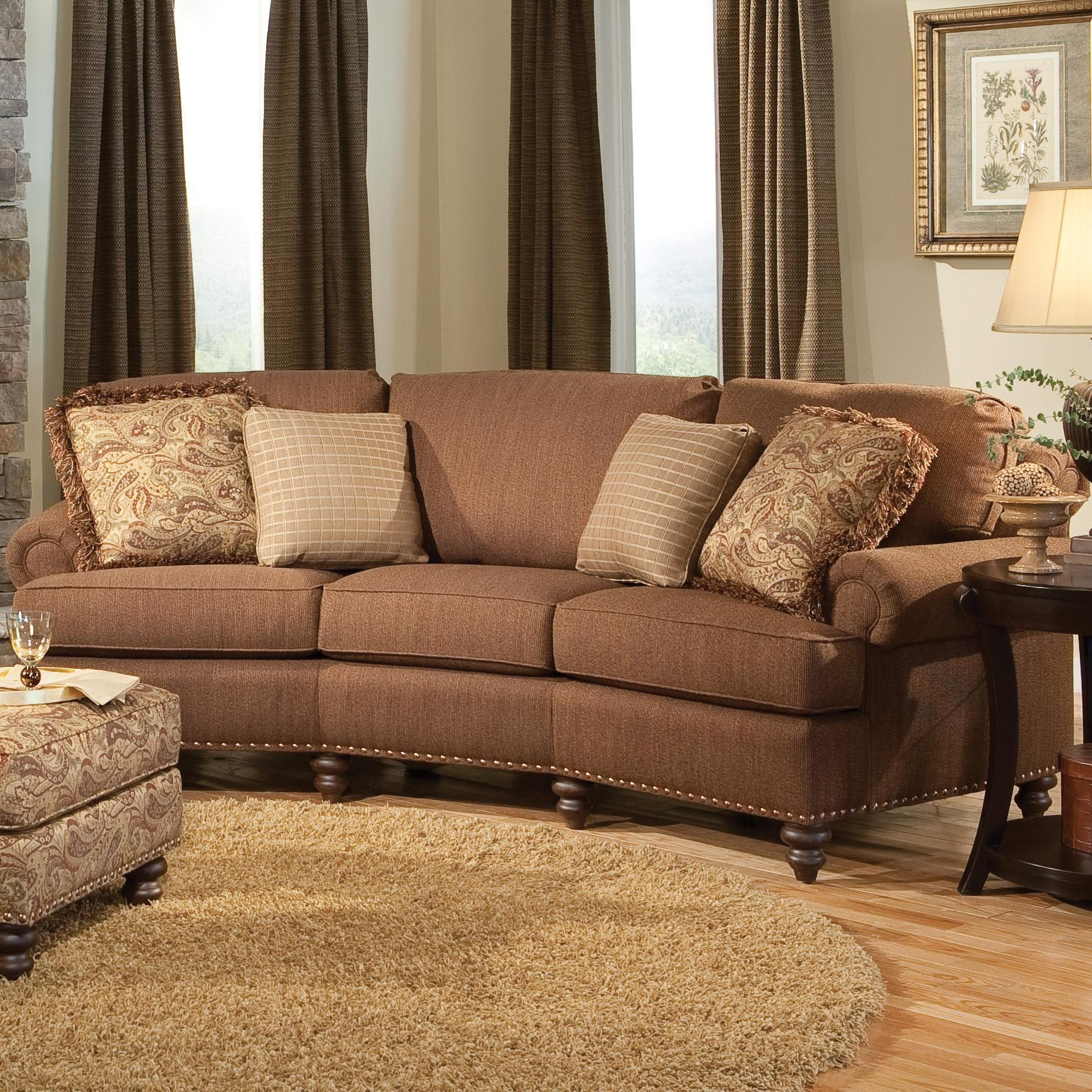 Curved Conversational Sofa With Nailhead Trimsmith Brothers With Regard To Smith Brothers Sofas (View 2 of 20)