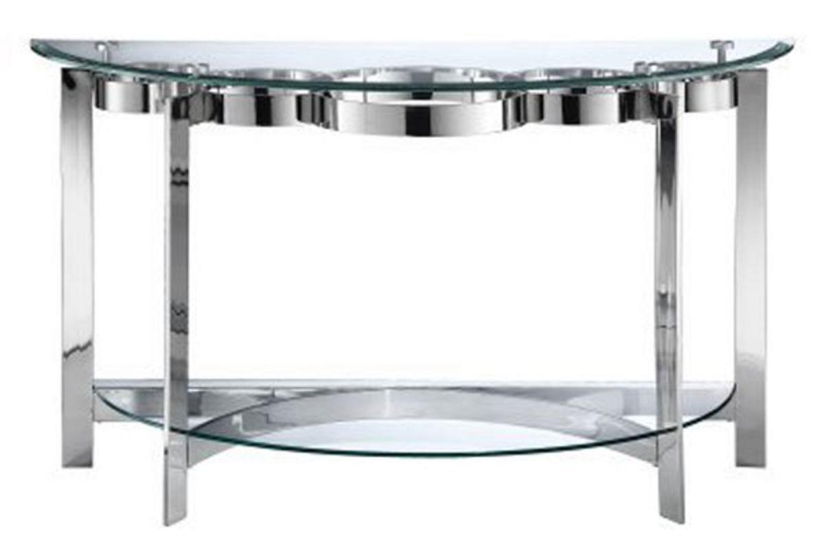 Curvy Chrome & Glass Sofa Table Inside Chrome Sofa Tables (Photo 1 of 20)