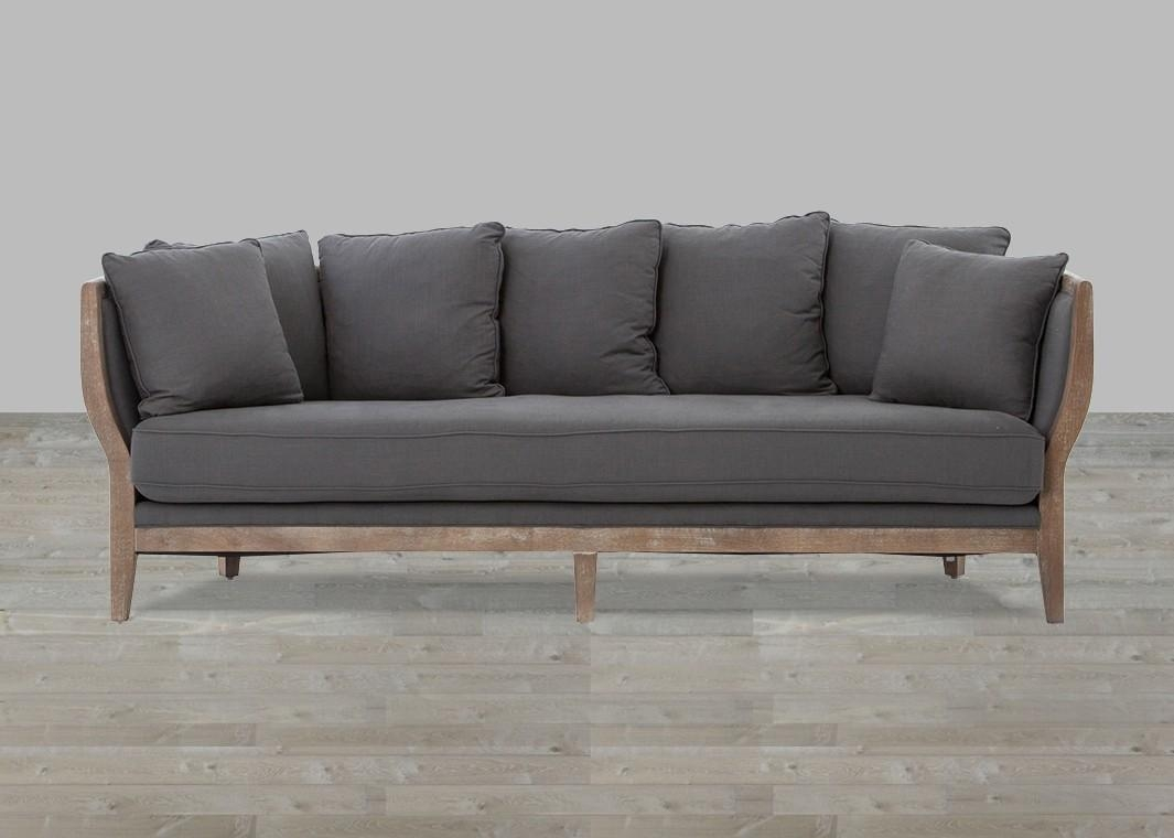 Cushion Sofa Gray Linen Whitewash Legs Regarding One Cushion Sofas (Image 1 of 20)