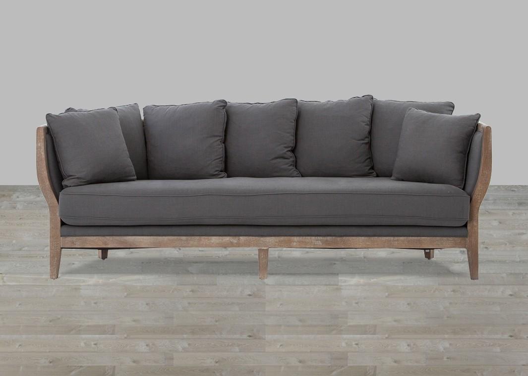 Cushion Sofa Gray Linen Whitewash Legs Regarding One Cushion Sofas (View 9 of 20)