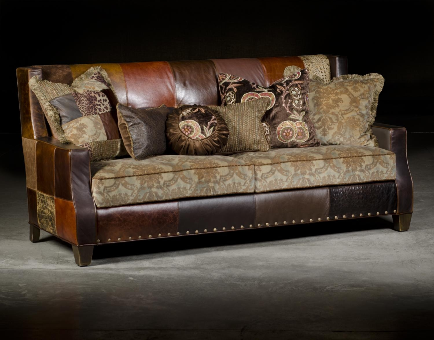 Custom Patchwork Leather & Cowhide Sofa | City Creek Furniture Inside Cowhide Sofas (Image 8 of 20)
