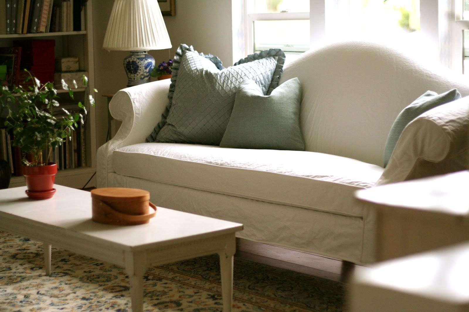 Custom Slipcoversshelley: White Camel Back Couch Pertaining To Camel Back Sofa Slipcovers (Image 8 of 20)