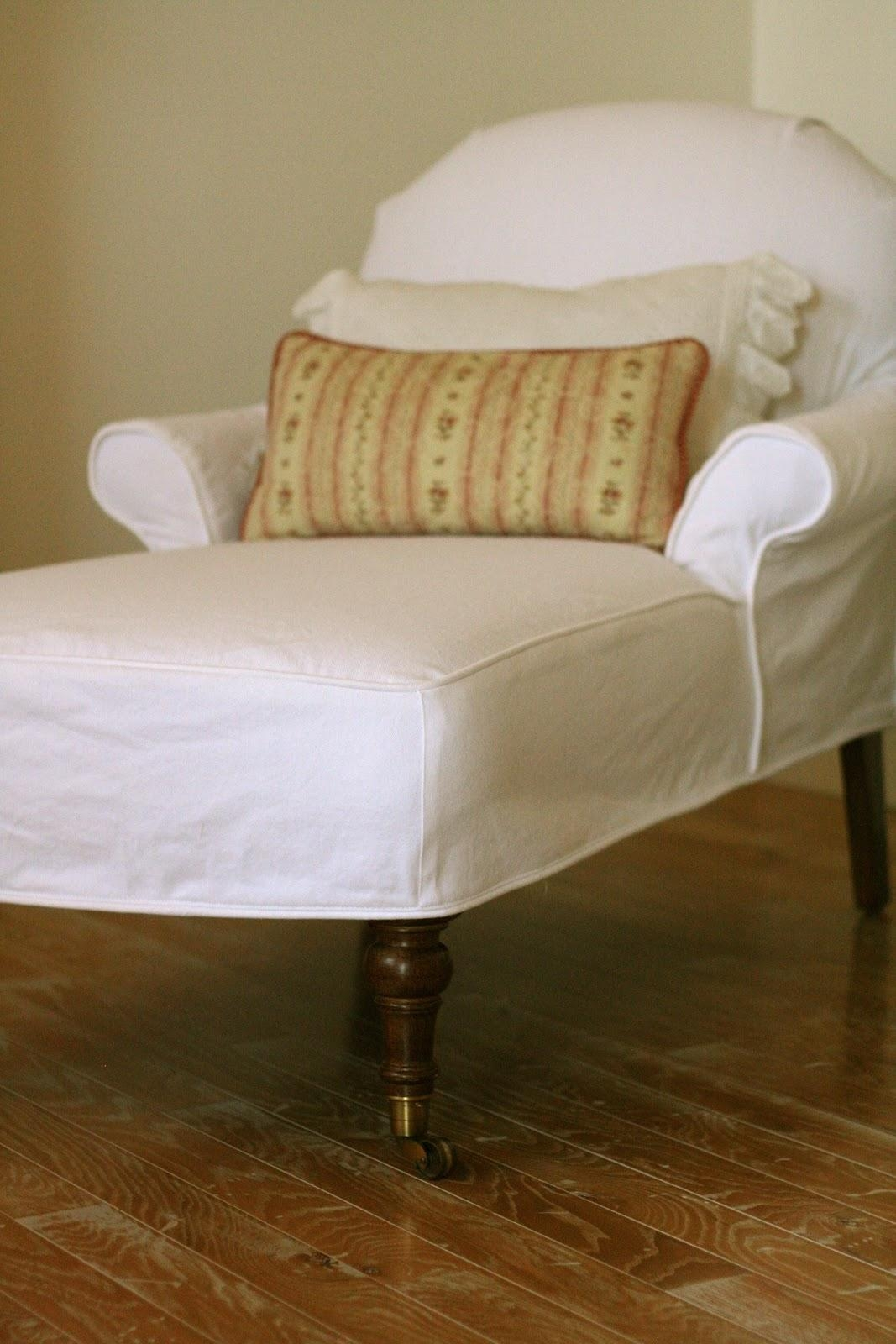 Custom Slipcoversshelley: White Denim Chaise With Slipcovered Chaises (Image 11 of 20)