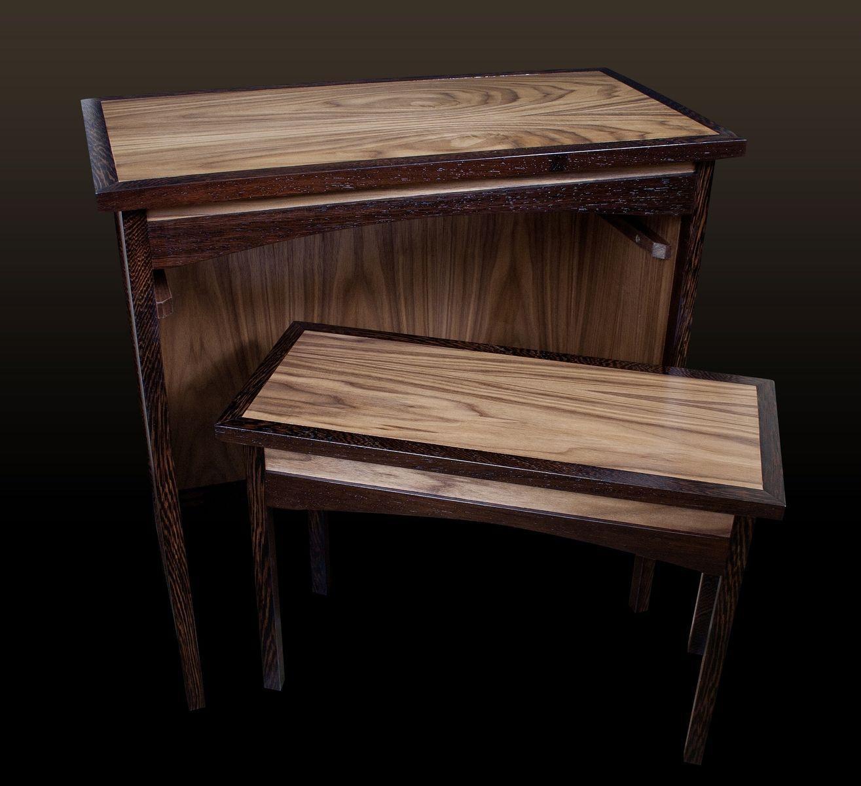 Custom Wenge & Walnut Shaker Sofa Table & Hideaway Bench Throughout Shaker Sofas (Image 6 of 20)