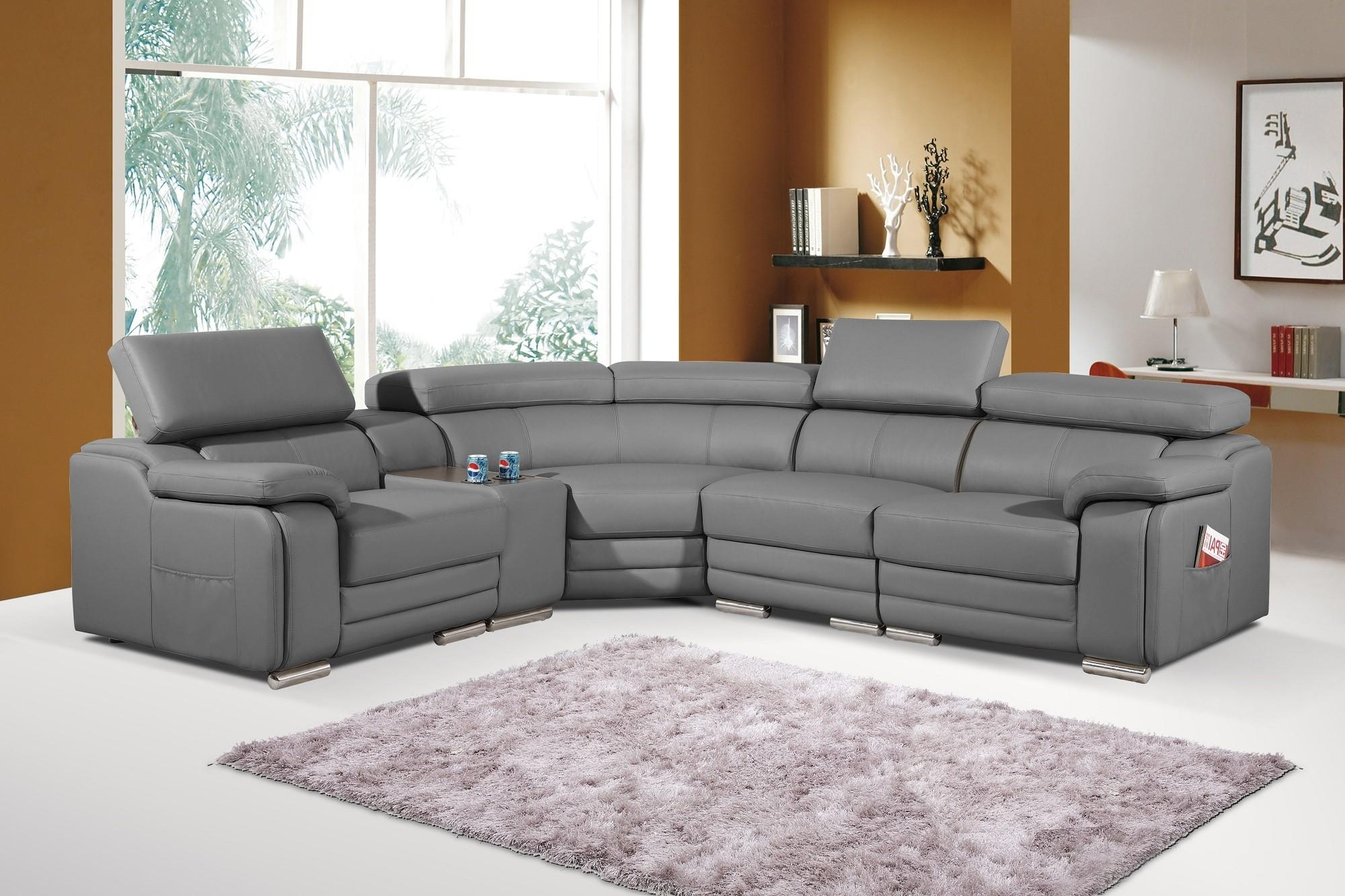 Dakota Stylist Modern Grey Leather Corner Sofa Left/hand In Corner Sofa Leather (Image 7 of 20)