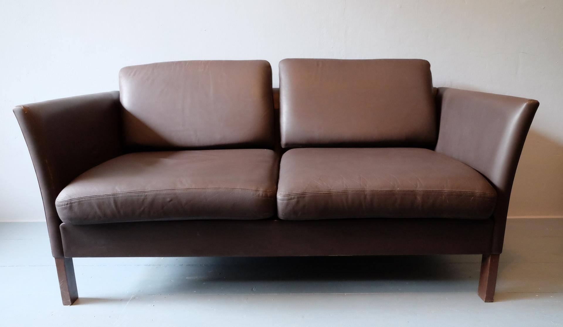 Danish Leather Sofa Loveseat, 1970S For Sale At Pamono Intended For Danish Leather Sofas (Image 3 of 20)
