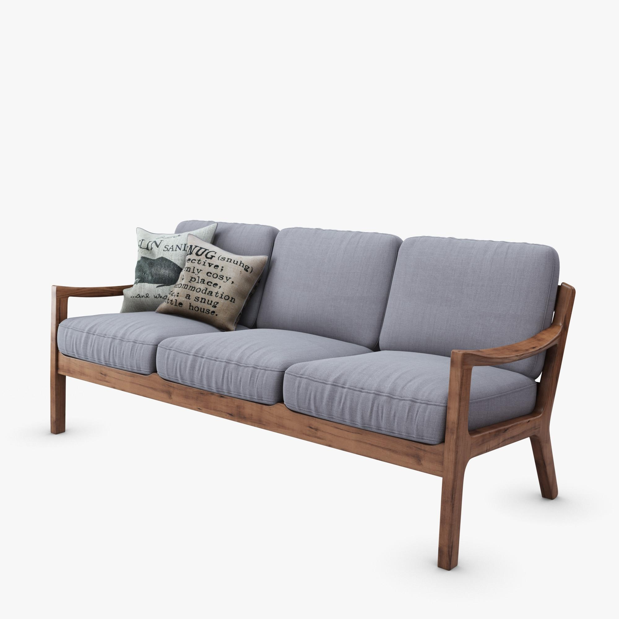 Danish Square 3 Seater 3D Model Throughout Modern Danish Sofas (View 12 of 20)