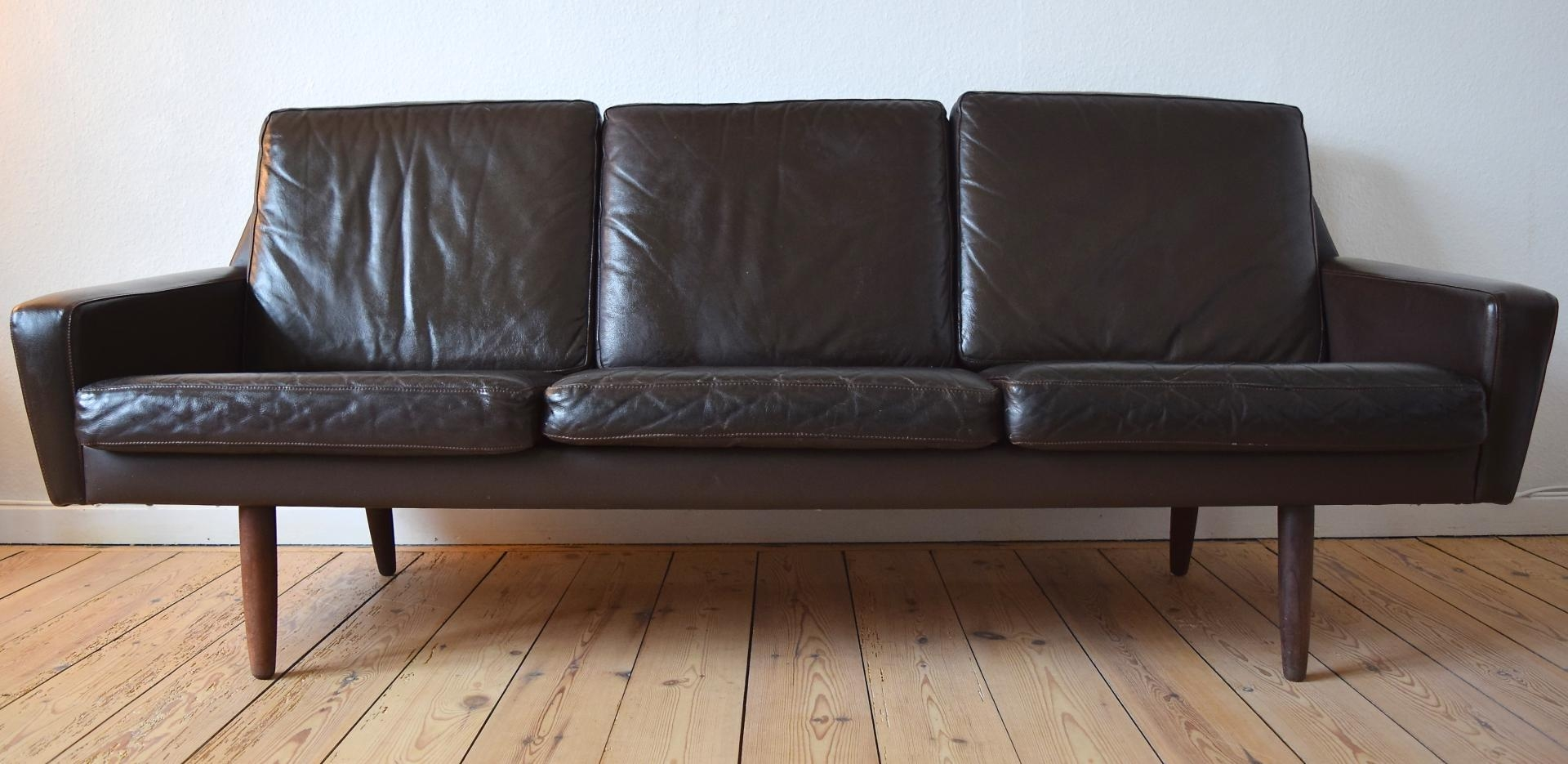 Danish Vintage Leather Sofa With Teak Legs, 1960S For Sale At Pamono With Danish Leather Sofas (Image 14 of 20)