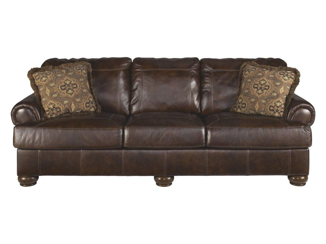 Darby Home Co Bannister Leather Sofa & Reviews | Wayfair With Regard To Chintz Sofas (View 3 of 13)