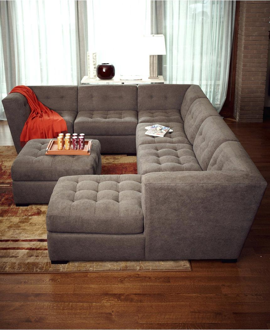 Dark Blue Sectional Canby Modular Sofa Set Costco Fabric Reclining Pertaining To 6 Piece Leather Sectional Sofa (View 11 of 15)