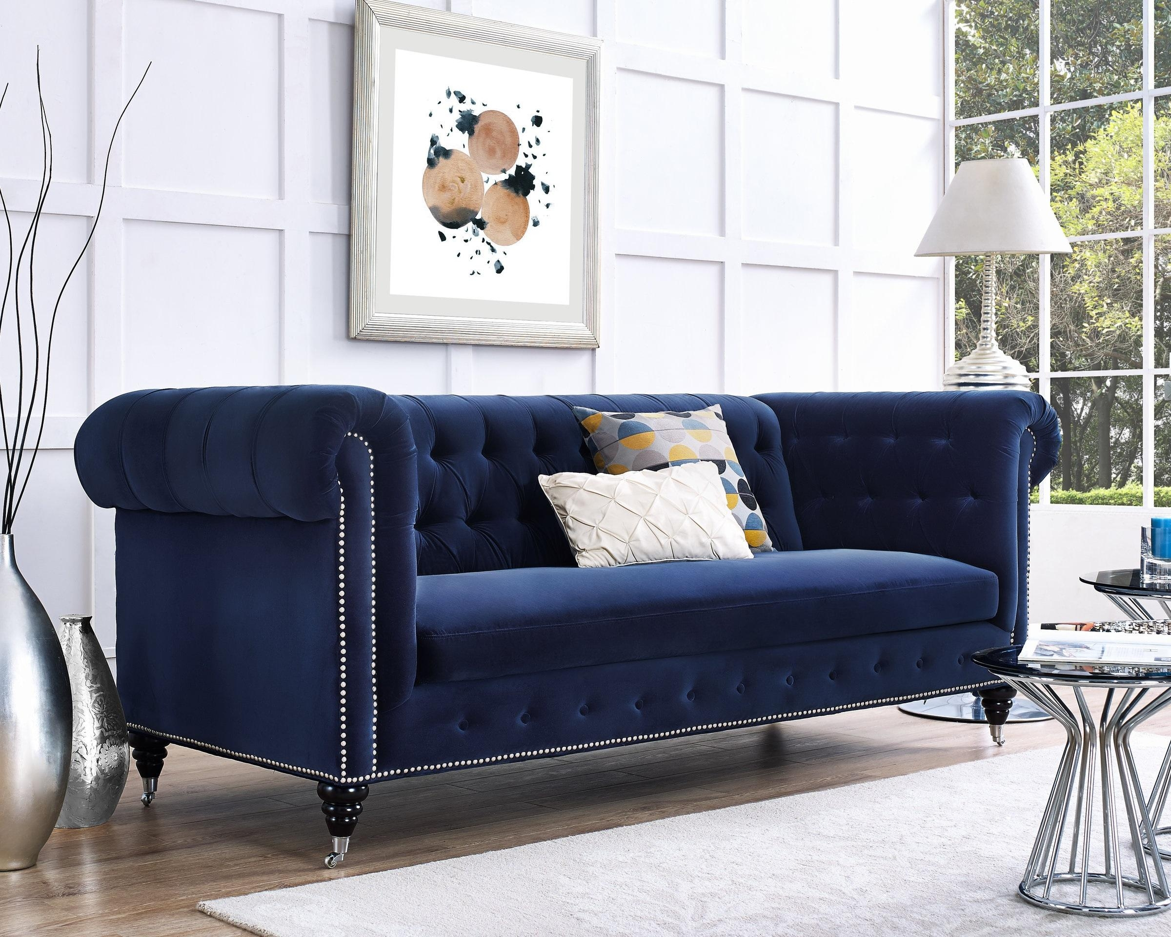 Dark Blue Velvet Chesterfield Tufted Sofa Regarding Blue Velvet Tufted Sofas (Image 9 of 20)